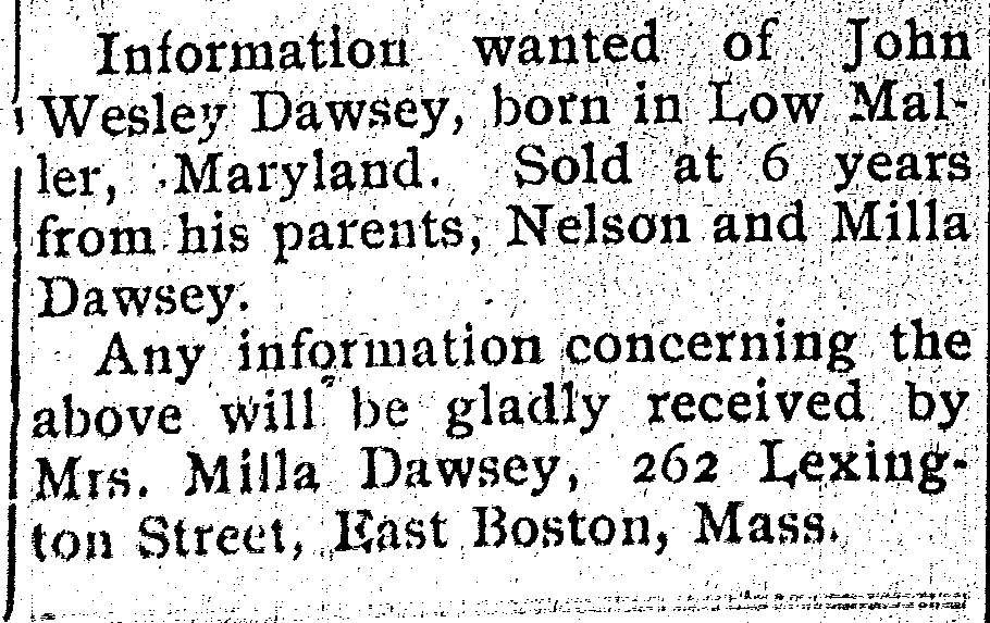 n ad from Last Seen: Finding Family After Slavery, a website created by Villanova University and Mother Bethel AME Church.