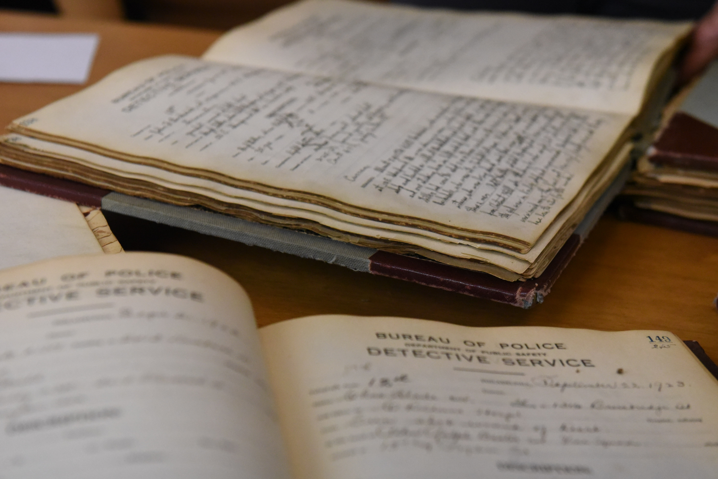 Historic homicide record books that date back to the early 1900s.