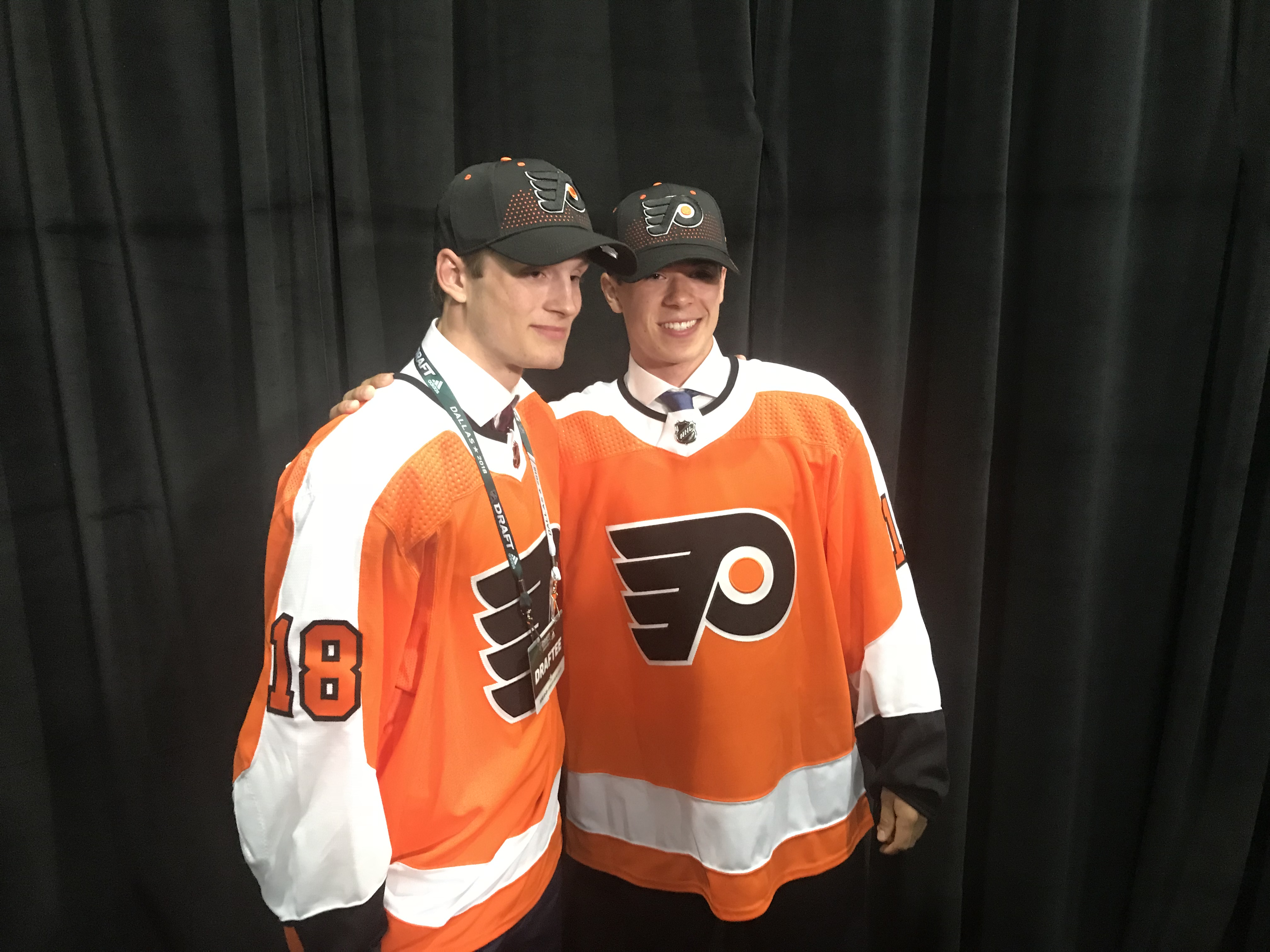 The Flyers´ first round picks in Friday´s draft: Joel Farabee (left) and Jay O´Brien.