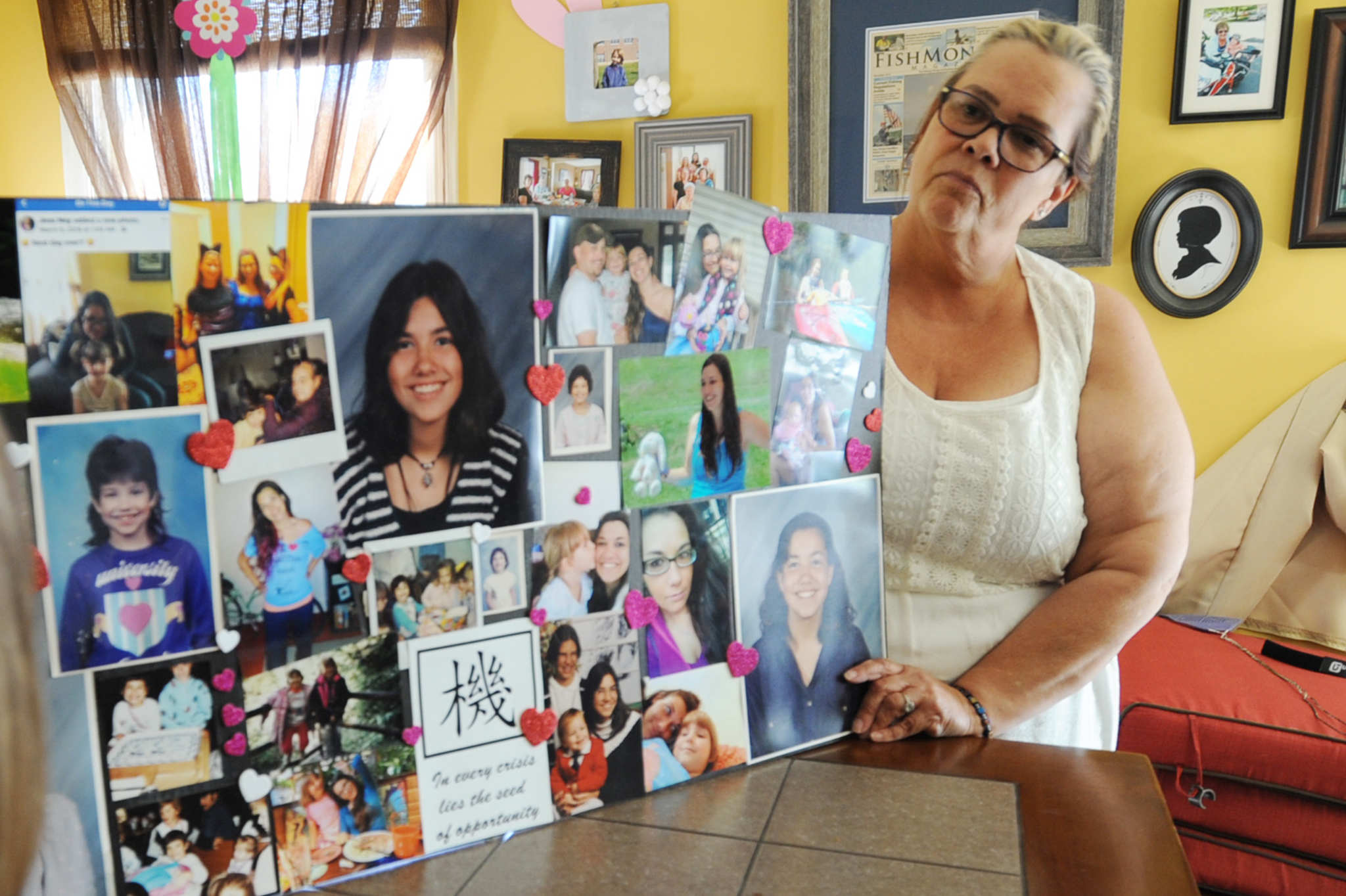 Jayne Grickis is shown with a collage of images of her daughter Jessica Ney at her Bernville, PA home Tuesday June 12, 2018.