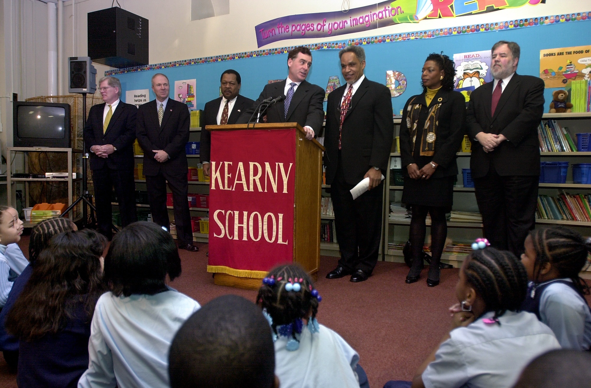In this 2002 file photo, Gov. Mark Schweiker and Mayor John Street announce their picks for the first School Reform Commission: Daniel Whelan, James Gallagher, James Nevels, Governor Schweiker, Mayor Street, Sandra Dungee Glenn and Michael Masch.