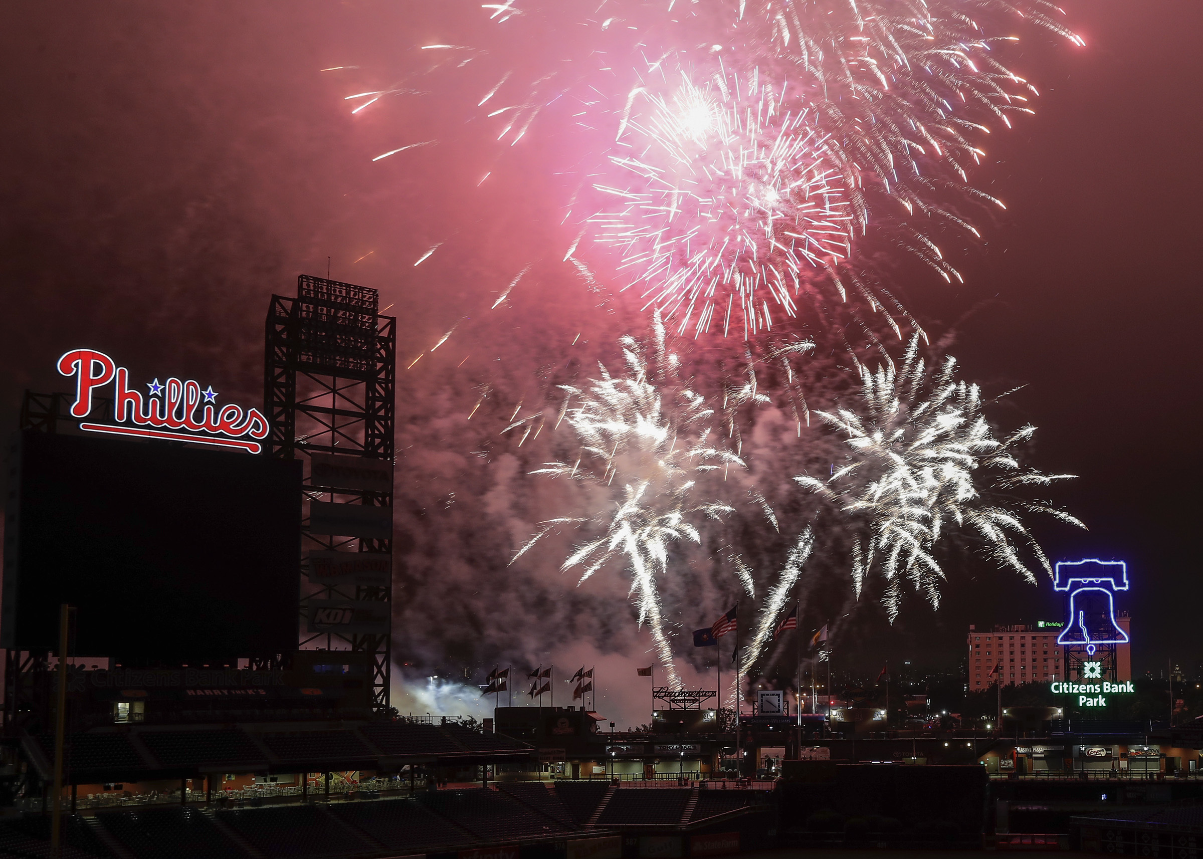 Fireworks fly over Citizens Bank Park after the Phillies played the Pittsburgh Pirates on Thursday, July 6, 2017 in Philadelphia. New Castles Pyrotecnico produces the show. YONG KIM / Staff Photographer.