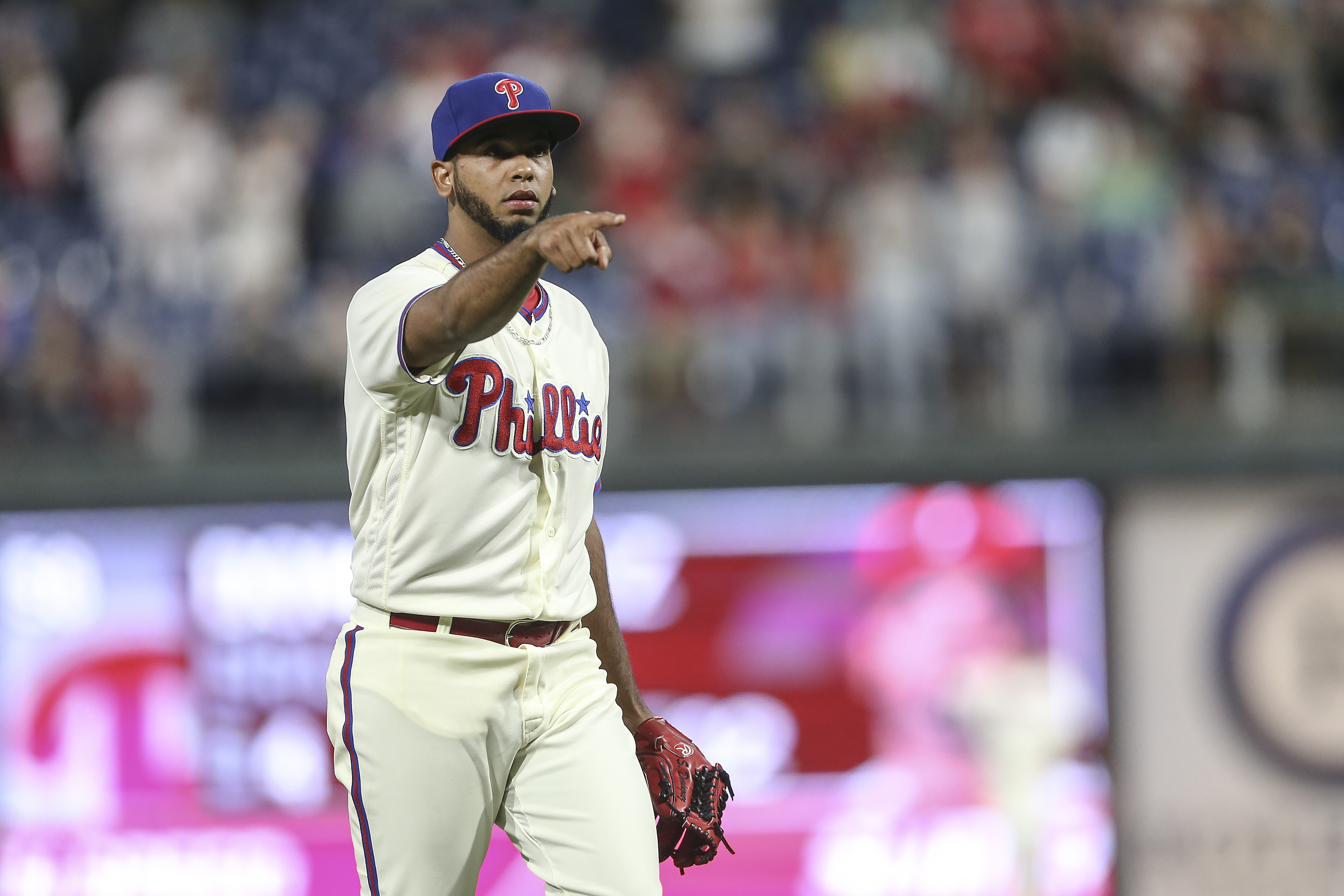 Phillies´ closer Seranthony Dominguez points after striking out Rockies´ Nolan Arenado to end the game at Citizens Bank Park in Philadelphia, Tuesday, June 12, 2018. Phillies beat the Rockies 5-4.