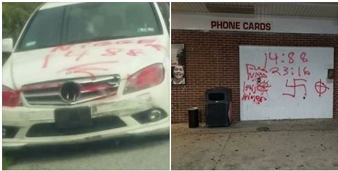 Anti-Semitic and racist graffiti that George Rissell spray-painted on property in Coatesville´s West End last August.