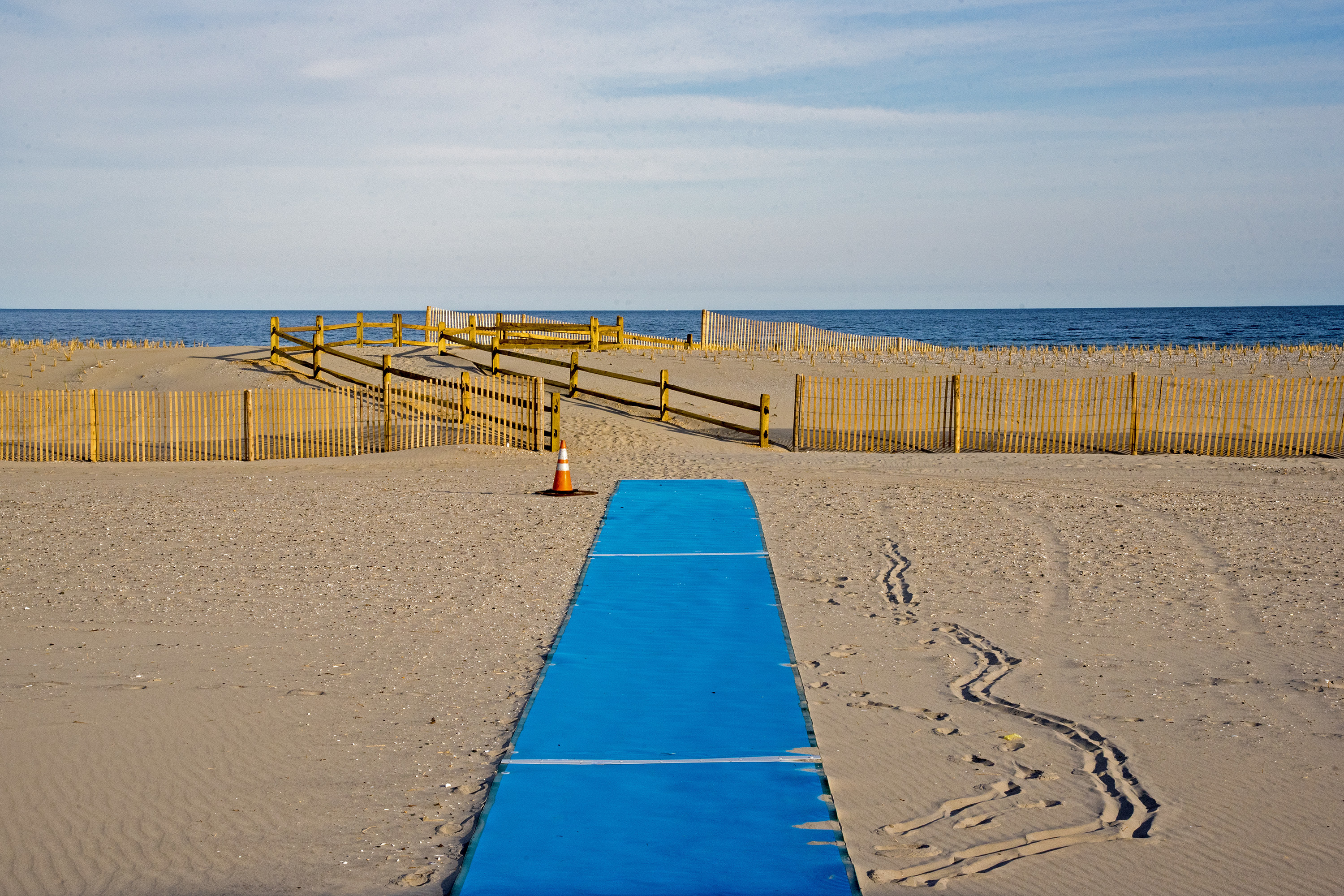 A walkway from the bulkhead to the new dunes on a Margate beach April 23, 2018, after completion of the Army Corps of Engineers' beach replenishment and dune construction project. Some Margate residents would like to see Ventnor´s boardwalk extended into their town.