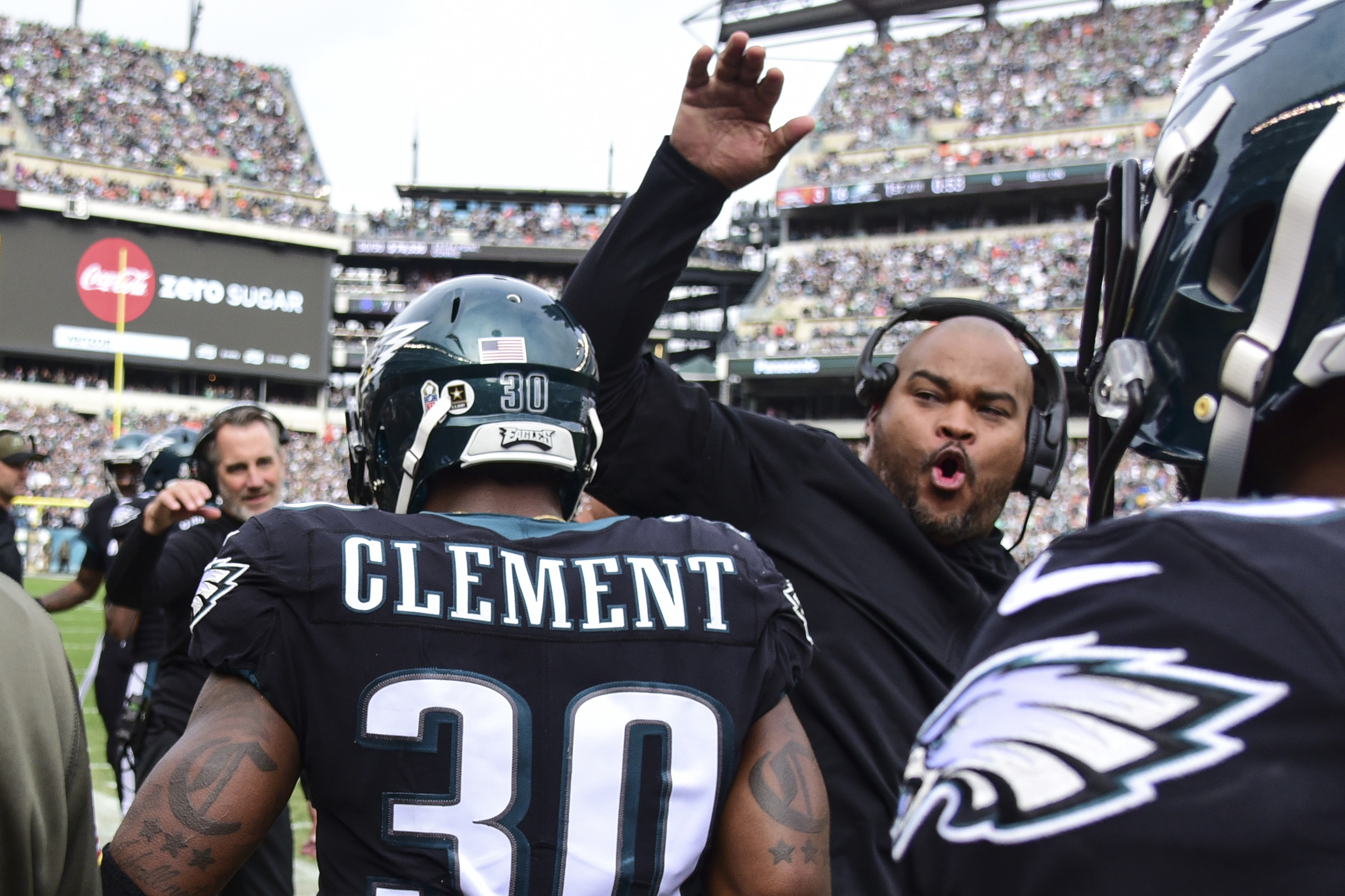 Duce Staley celebrating after a touchdown by running back Corey Clement last November.