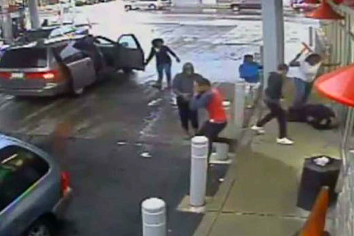 A still image from the surveillance video outside the Sunoco gas station and convenience store in Olney where on April 7, 2015, three women and three juveniles attacked a homeless man, Robert Barnes, who died seven months later.