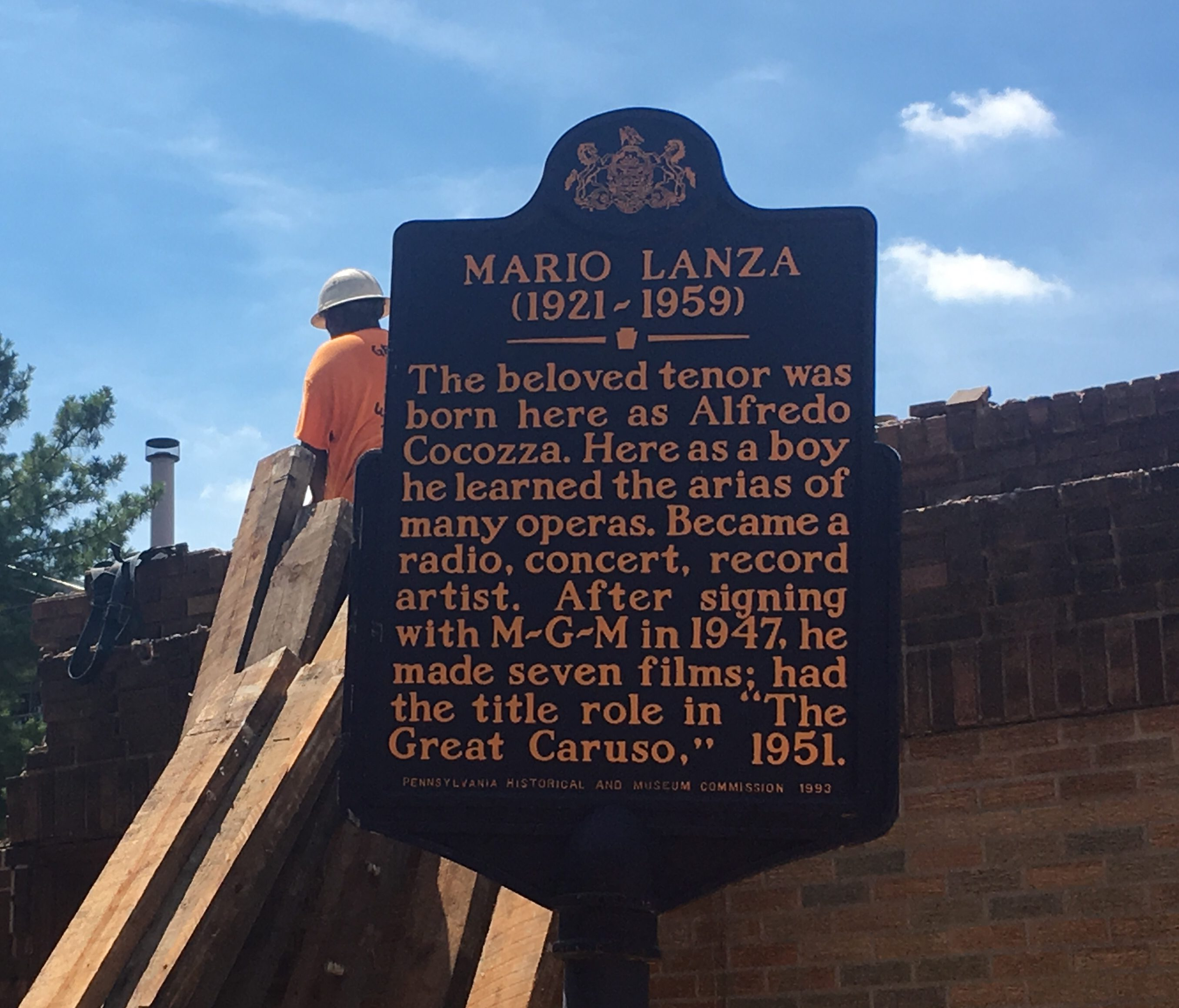 The historical marker at the home of Mario Lanza