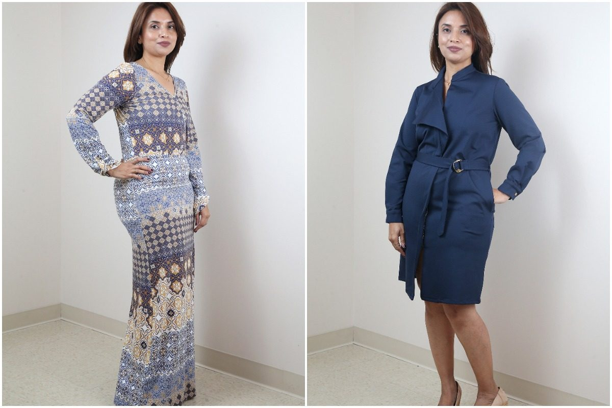 (Right) Amber dress ($225), The maxi dress features AmberNoon´s signature print based on the ancient castles of the Muhgal Empire. (Left) AmberNoon´s Zoha Trench dress in navy blue ($295)
