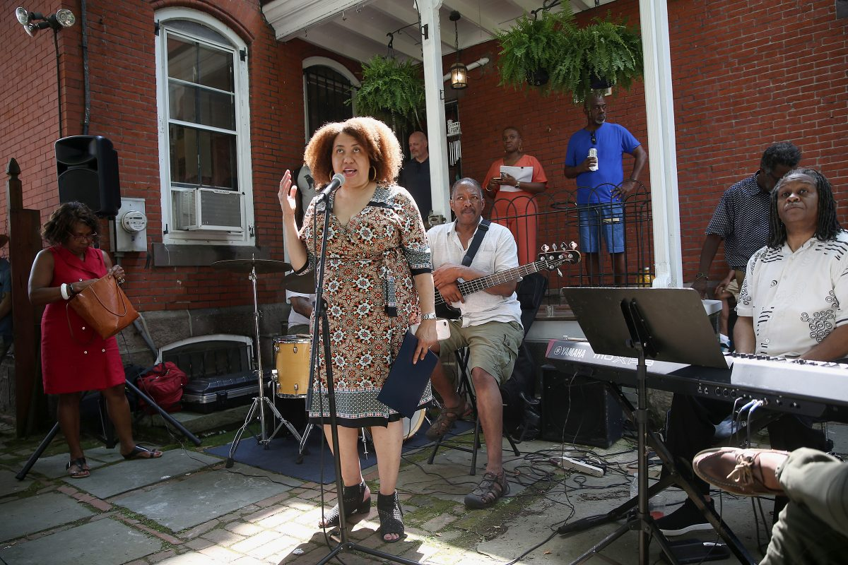 Monique Greenwood speaks during an open house at the new Akwaaba Bed and Breakfast in West Philadelphia on Wednesday, July 4, 2018. The Philadelphia location is the latest addition to the bed and breakfast chain started by Greenwood and her husband, Glenn Pogue.