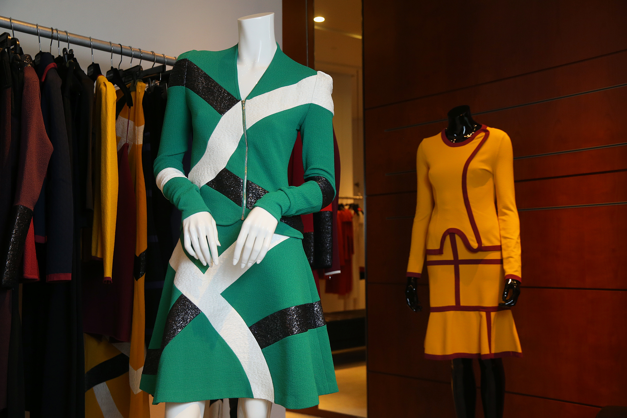 The Galatee jacket and vignette skirt, left, and Majori jacket and Naeva skirt, right, from the Fall 2018 collection are pictured at the Paula Hian store in the King of Prussia Mall on Friday, July 6, 2018. TIM TAI / Staff Photographer