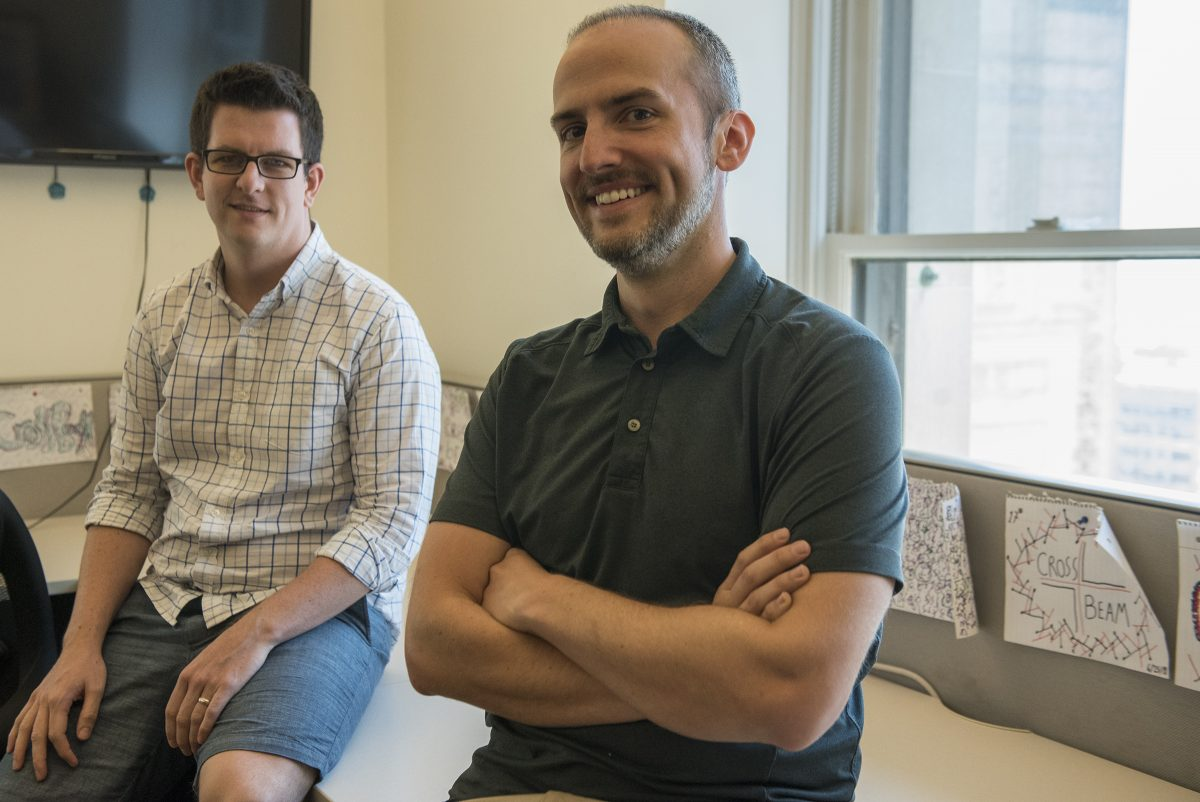 """Serial entrepreneurs Francis """"Buck"""" Ryan (left) and Bob Moore,  cofounders of Crossbeam, a new software start-up aimed at enabling better-informed B2B partnership decisions, in their Center City office."""