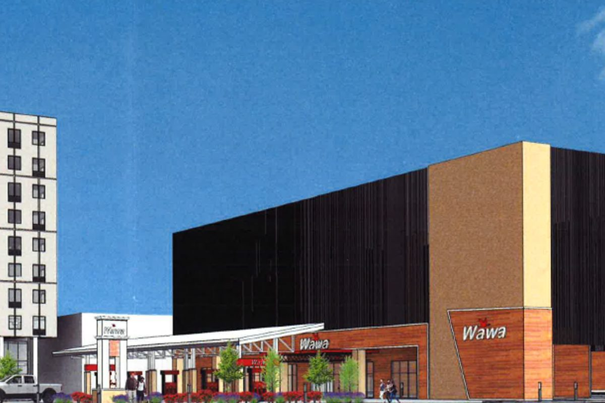 This is a preliminary rendering of the Wawa and 320-car parking garage that Michael Grasso's Metro Development wants to build on Spring Garden Street, just a block from the Delaware River.