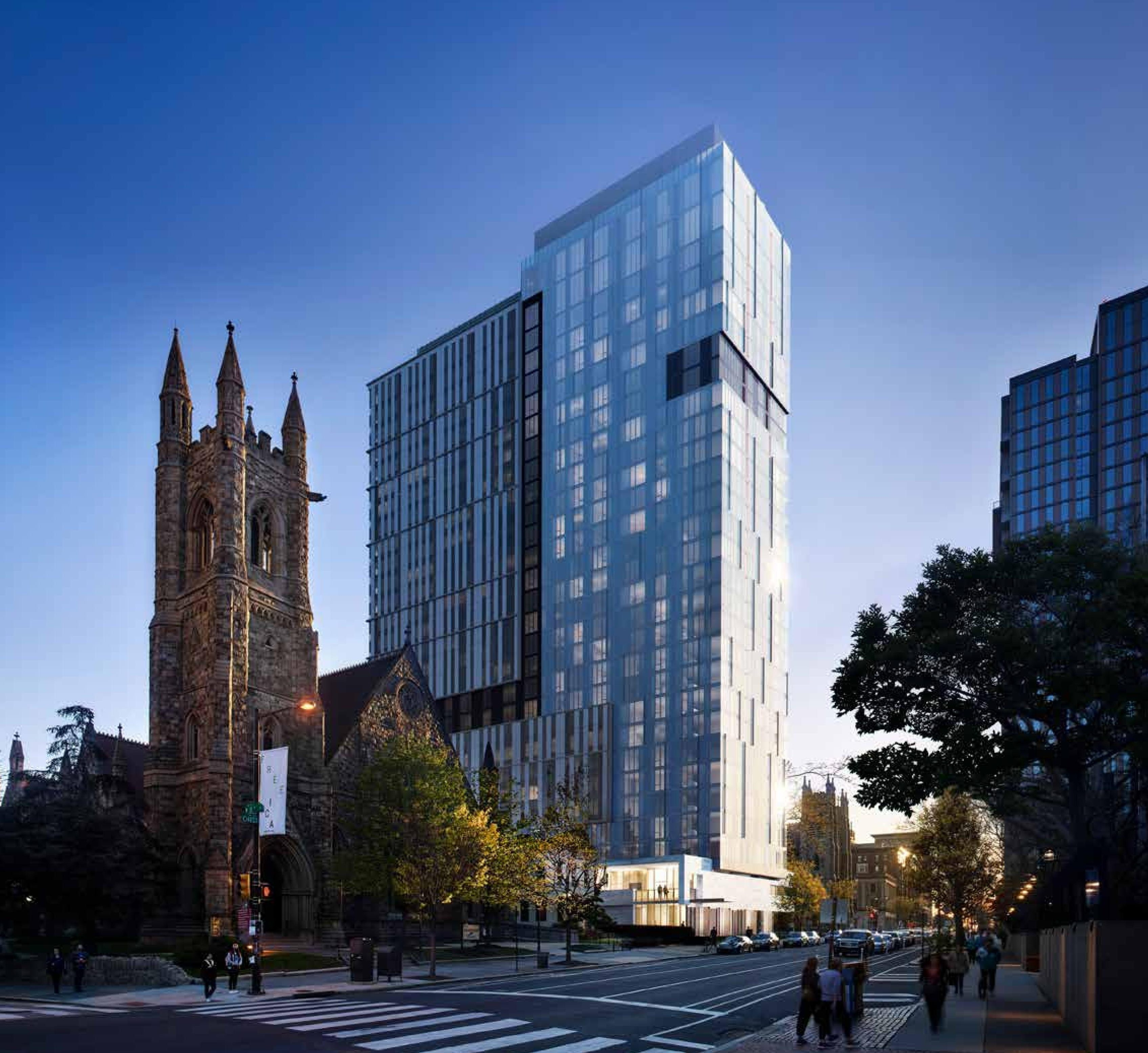 Artist´s rendering of apartment building planned for the current site of the Newman Center student ministry at 3720 Chestnut St., as seen from Chestnut Street.