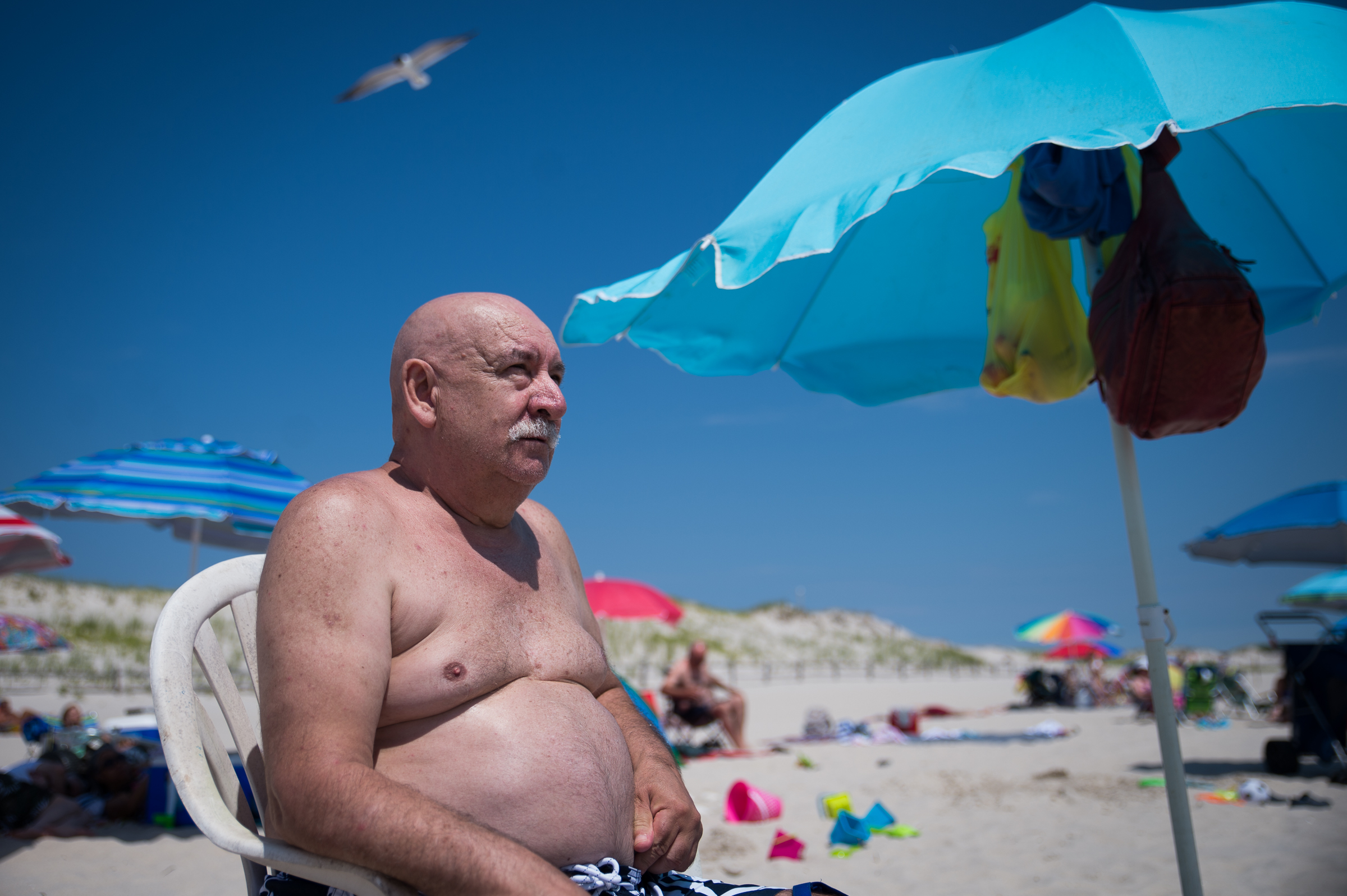 Bonelli Santo, 73, of Bayville, at Island Beach State Park on Independence Day. (CAMERON B.. POLLACK / Staff)