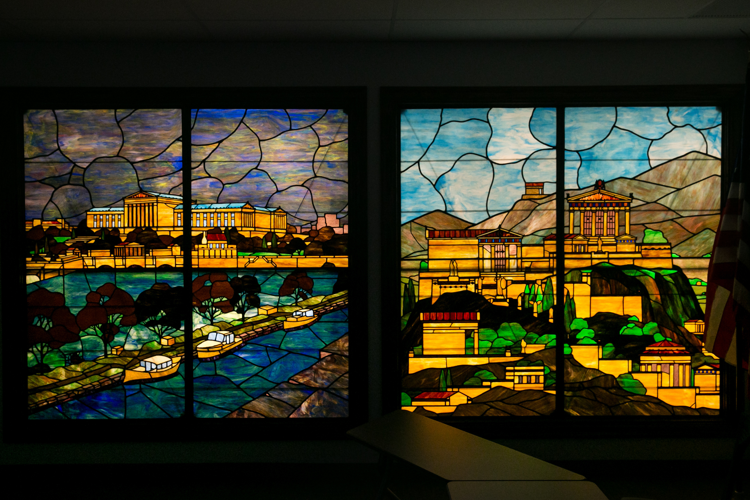 The restored stained glass windows, in the newly renovated school board space at 440 N. Broad St.