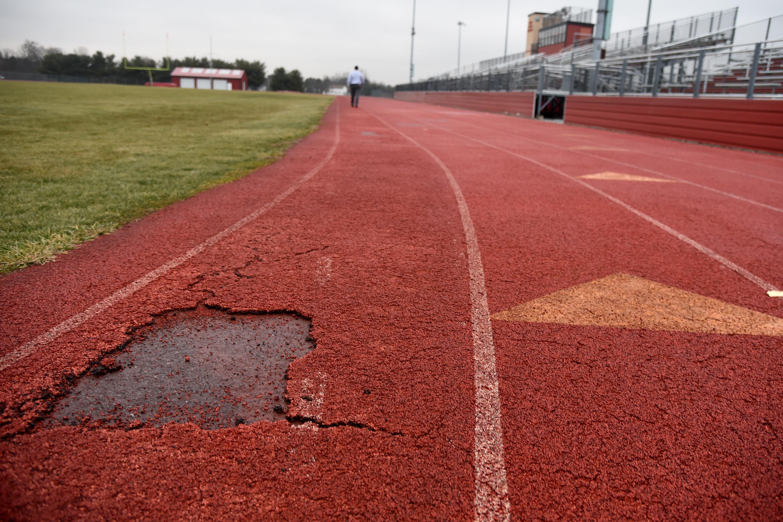 The deteriorated Kingsway Regional High School track
