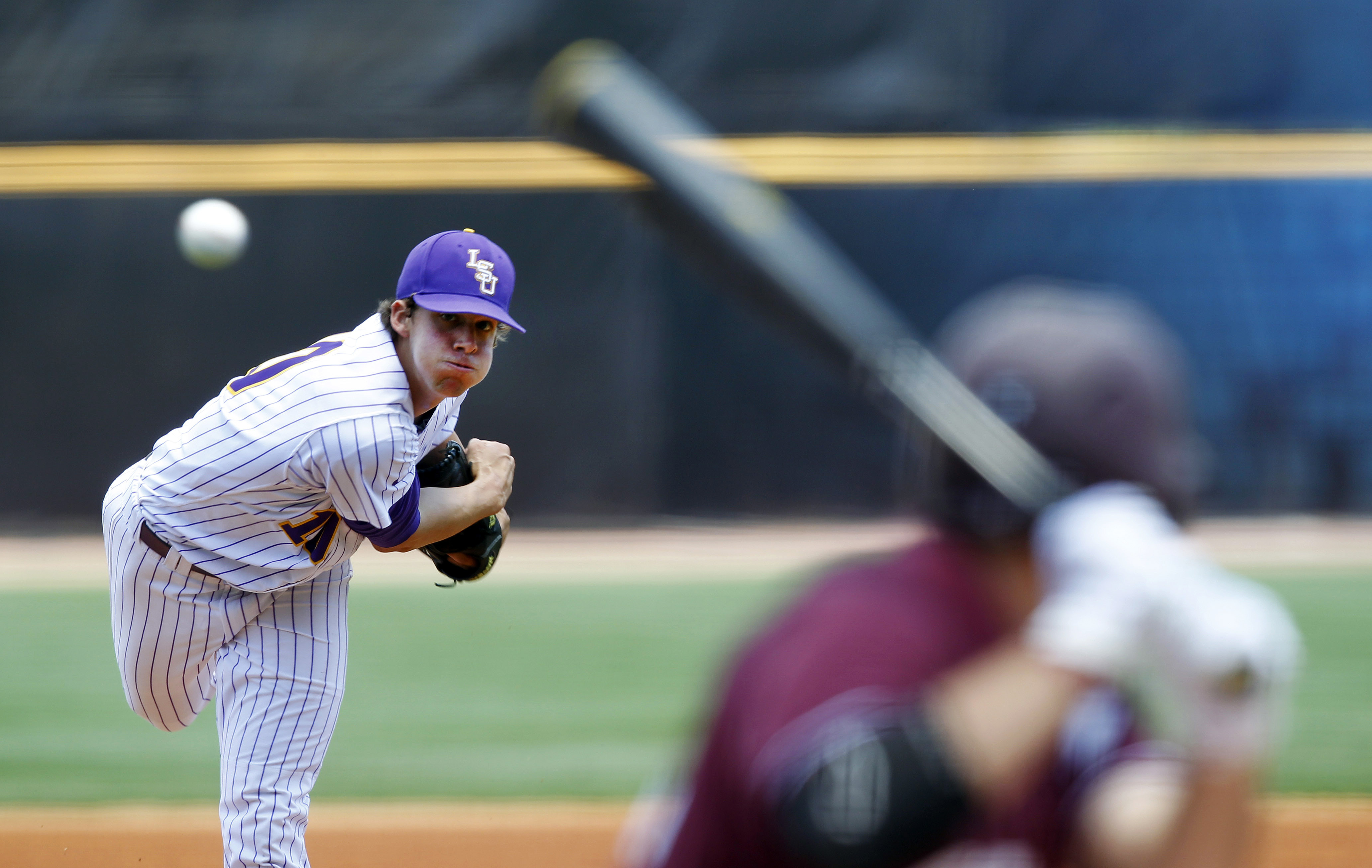 Aaron Nola pitching for LSU against Mississippi State in May 2012.
