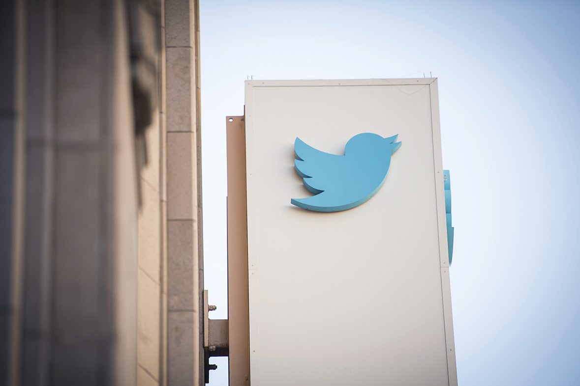 The Twitter logo is displayed outside the company's headquarters in San Francisco.