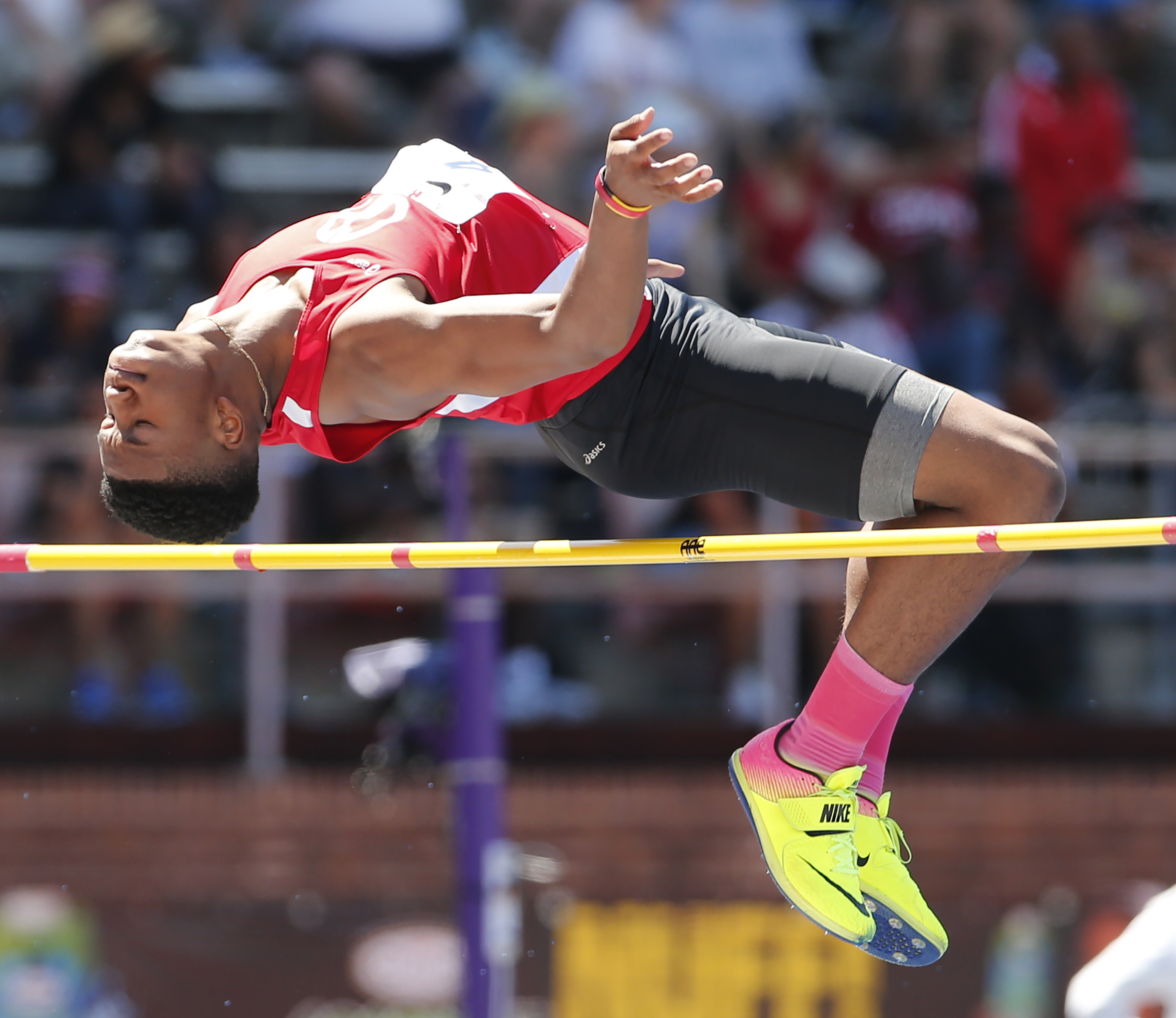 Garland competes in the high jump at the 2017 Penn Relays.