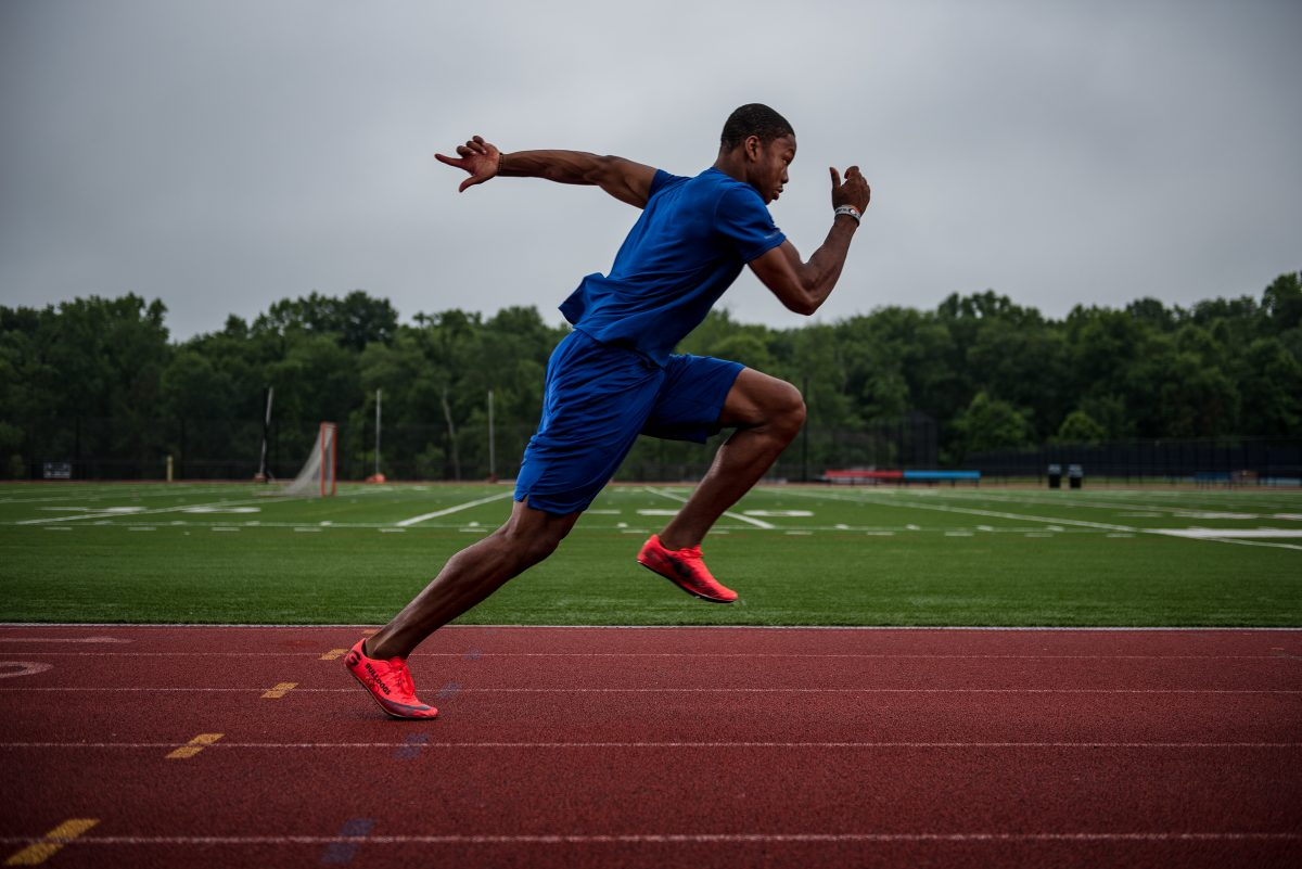 Decathlete Kyle Garland sprints during a recent workout at Germantown Academy.