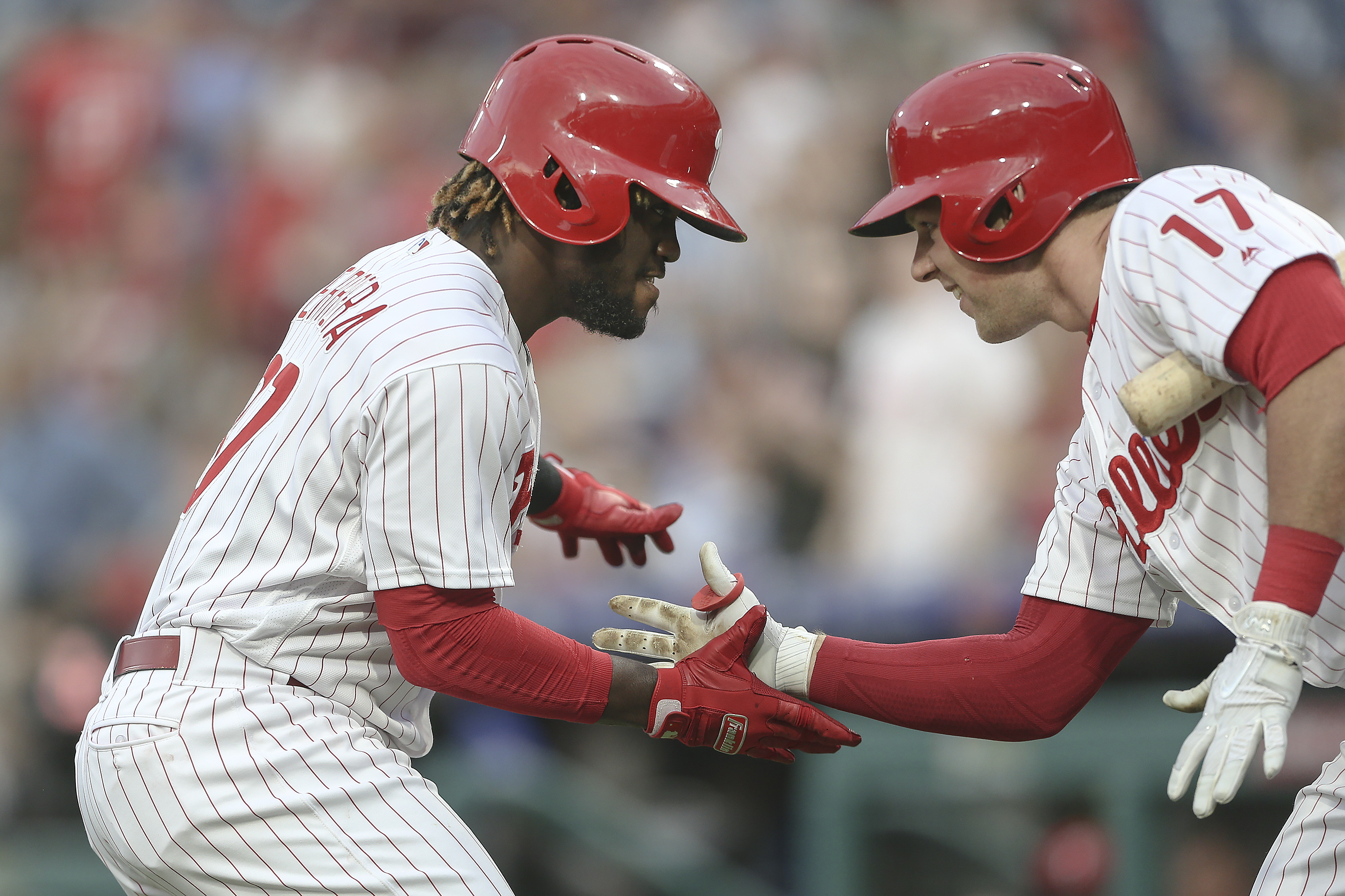 STEVEN M. FALK / Staff PhotographerWhen the All-Star rosters were unveiled Sunday, neither Odubel Herrera (left) nor Rhys Hoskins was on the National League team. But while both Phillies outfielders had their shining moments in the season´s first half, it´s difficult to list either among the All-Star snubs.
