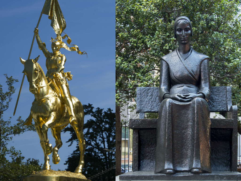 Joan of Arc, left, and Mary Dyer, memorialized in Philadelphia statues.