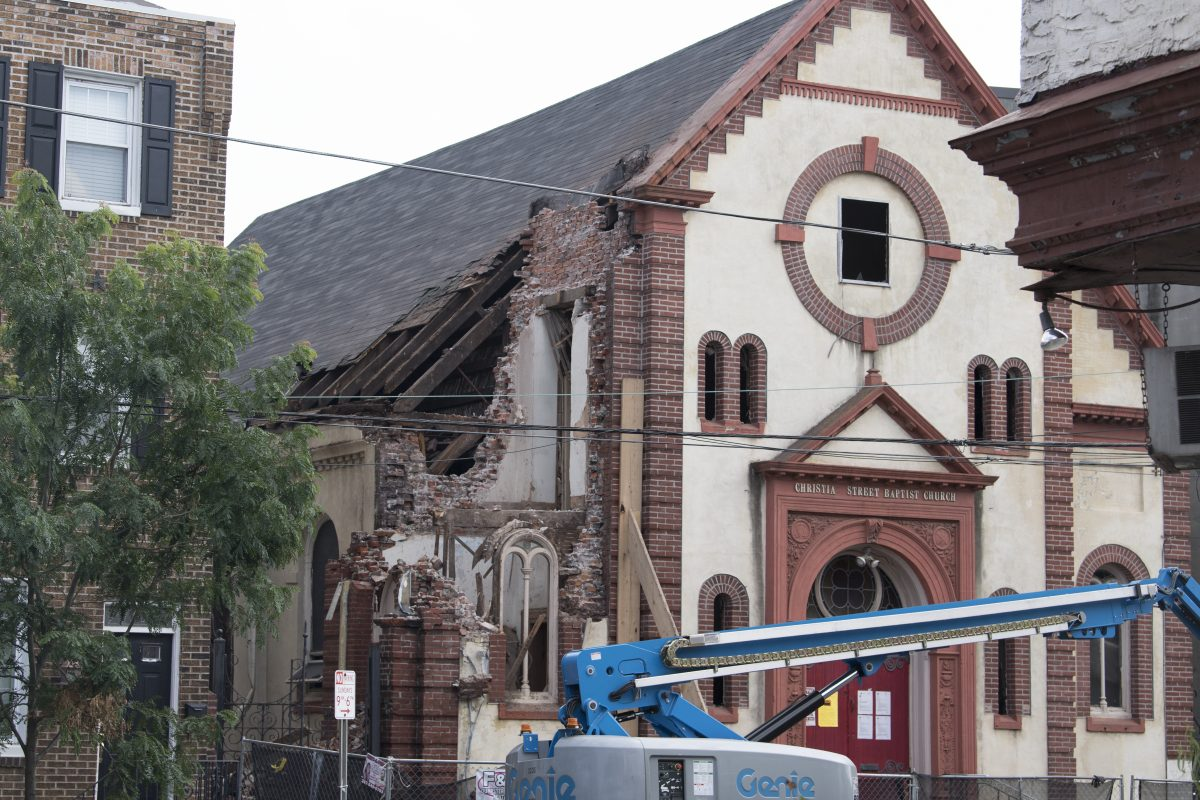Demolition progressed Wednesday at the Christian Street Baptist Church in Bella Vista. Developer Ori Feibush is razing the property. A new developer will build townhouses.