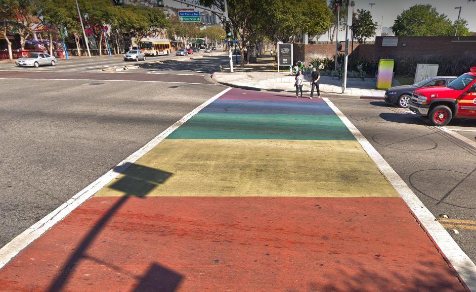 The rainbow crosswalks in West Hollywood, Los Angeles.