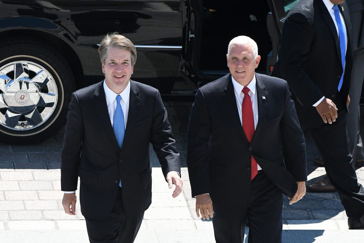 U.S. Vice President Mike Pence, right, and Supreme Court nominee Brett Kavanaugh arrive at the U.S. Capitol on July 10, 2018 in Washington, D.C.
