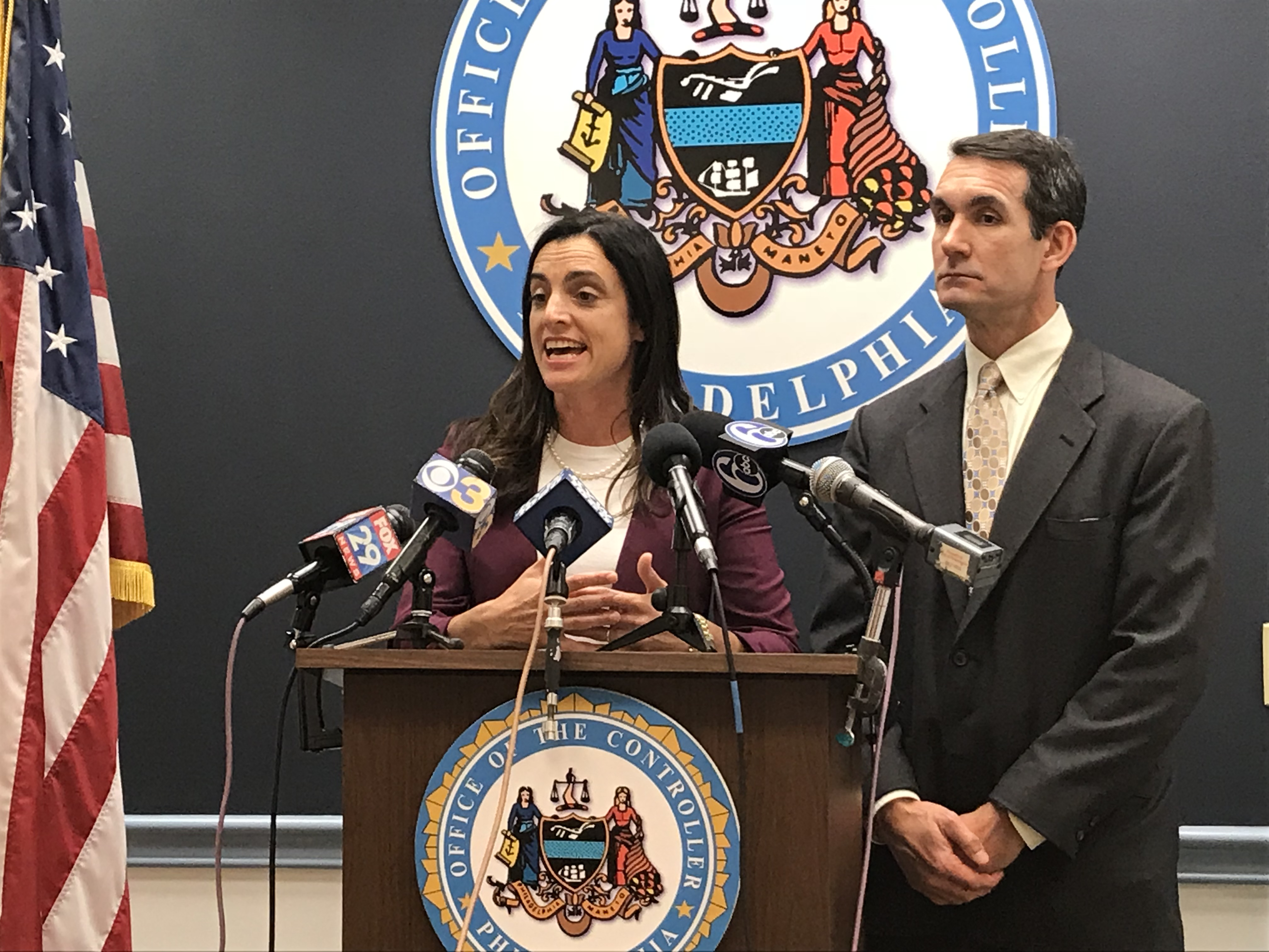Philadelphia controller Rebecca Rhynhart and Pennsylvania Auditor General Eugene DePasquale announce an audit of the Philadelphia Parking Authority´s street parking enforcement operation.