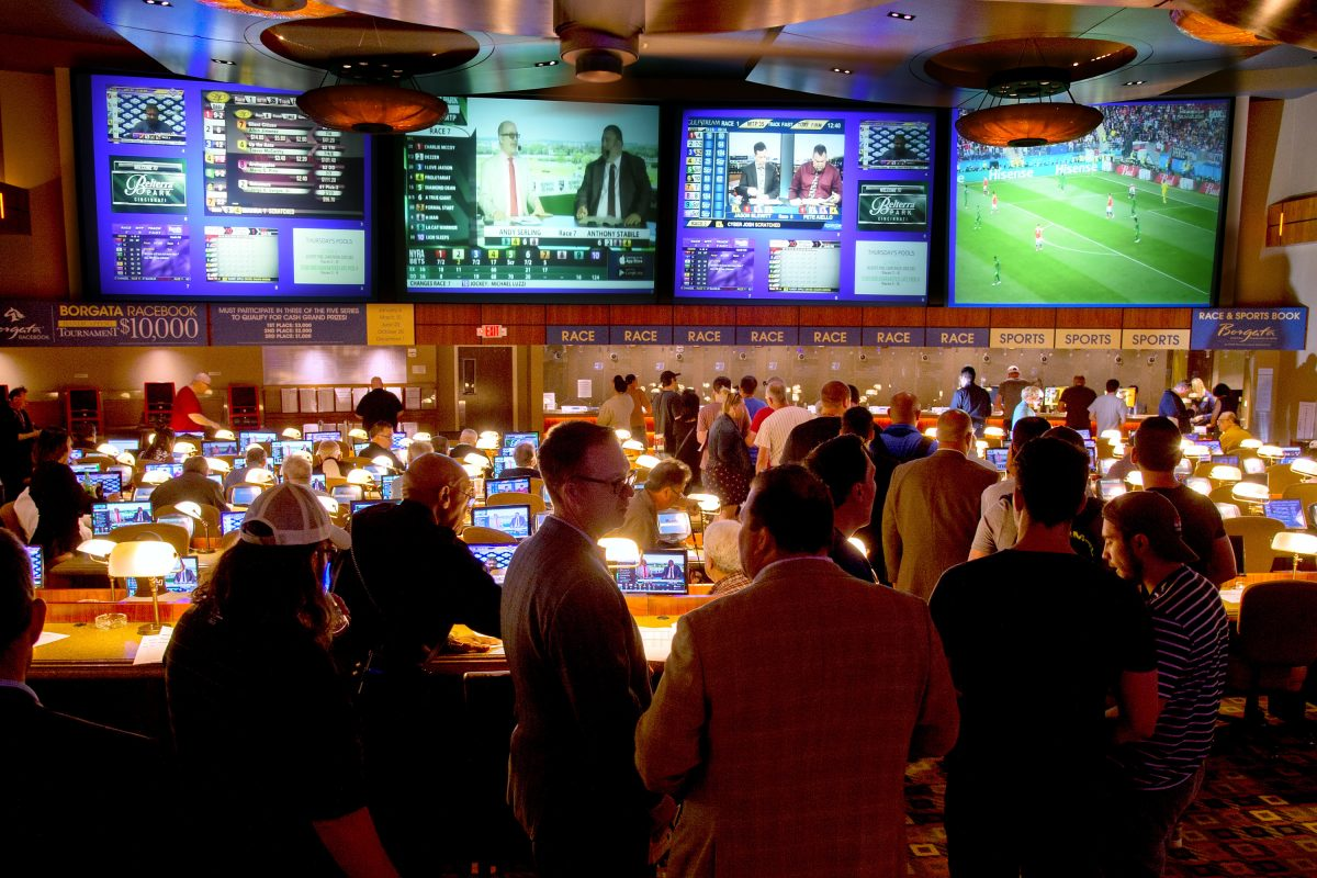 Bettors line up at the Borgata in Atlantic City on  June 14, opening day for sports wagering.