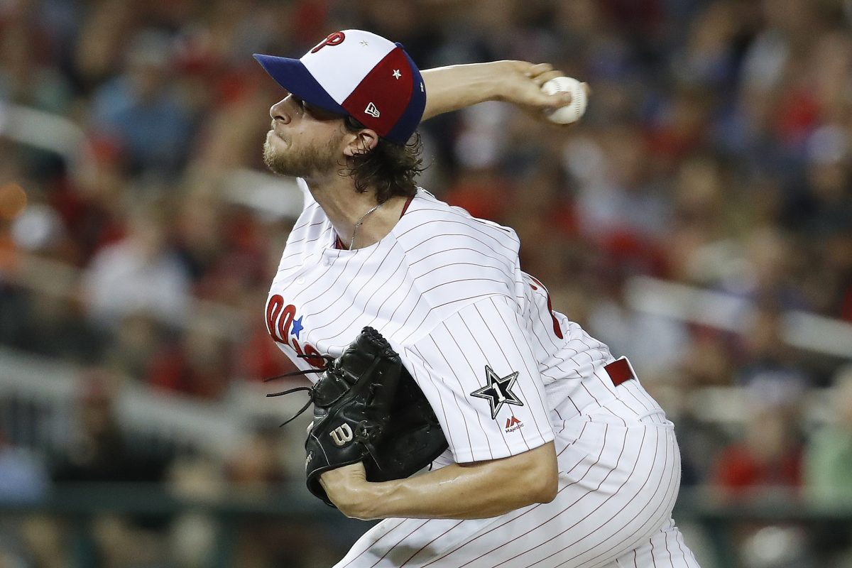 Phillies pitcher Aaron Nola during his lone inning at the All-Star Game.