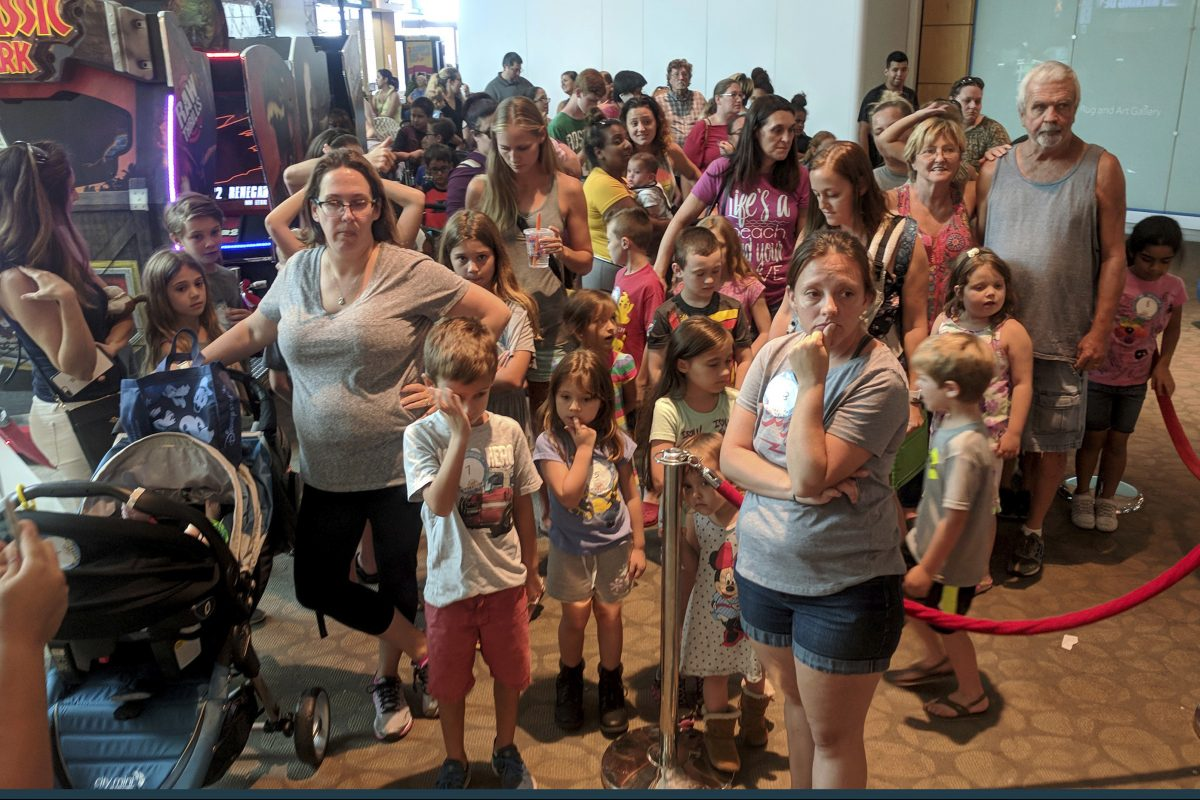 The second-floor breezeway is full of customers waiting in line to participate in Build-A-Bear Workshop´s Pay Your Age event at Westfield Countryside Mall in Clearwater, Fla.