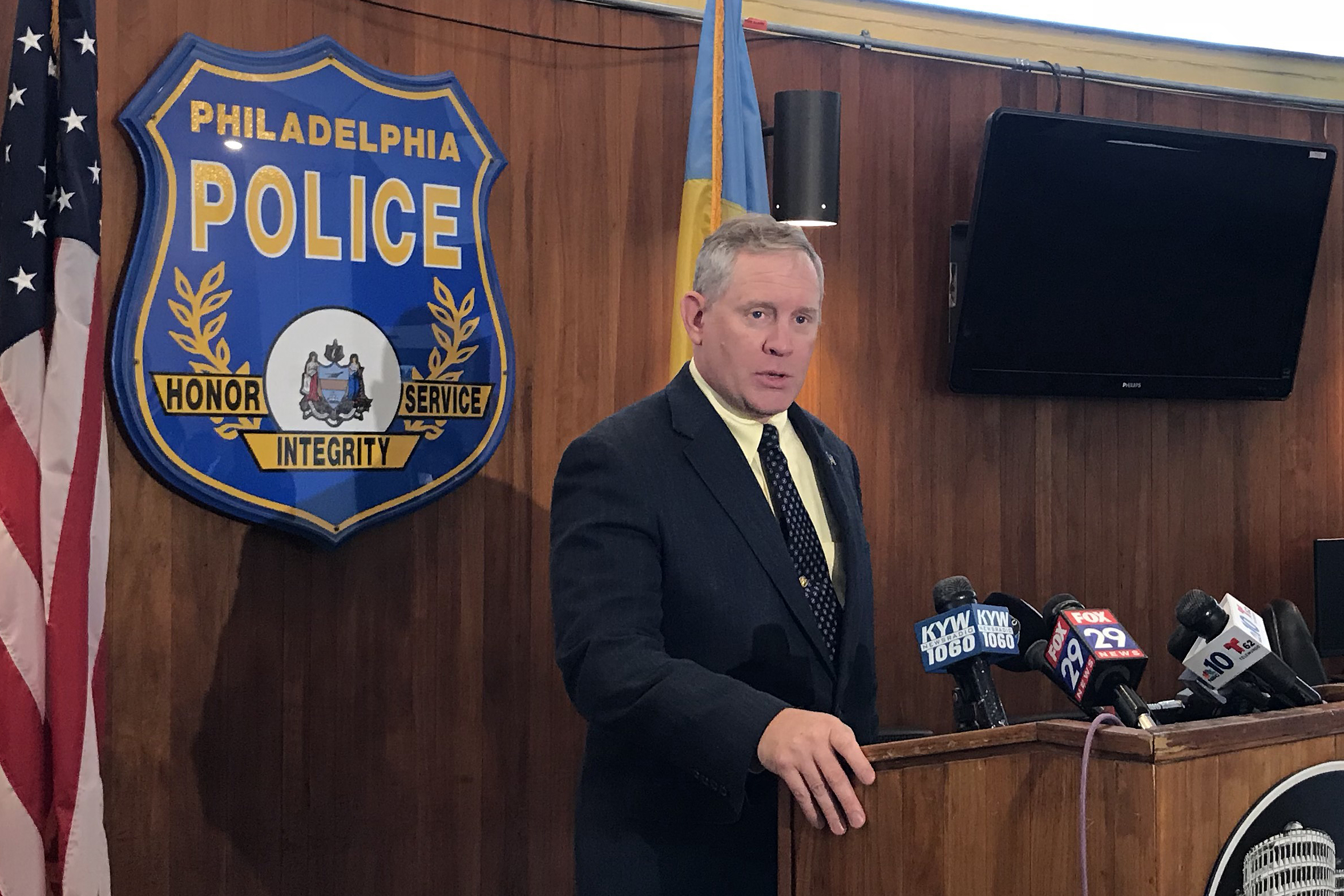 Philadelphia Police Capt. John Ryan of the Homicide Unit speaks during a news conference at the Police Administration building at 8th and Race Streets in Philadelphia on Friday, July 13, 2018. He gave details on the stabbing death of Sean Schellenger, 37, of Point Breeze.