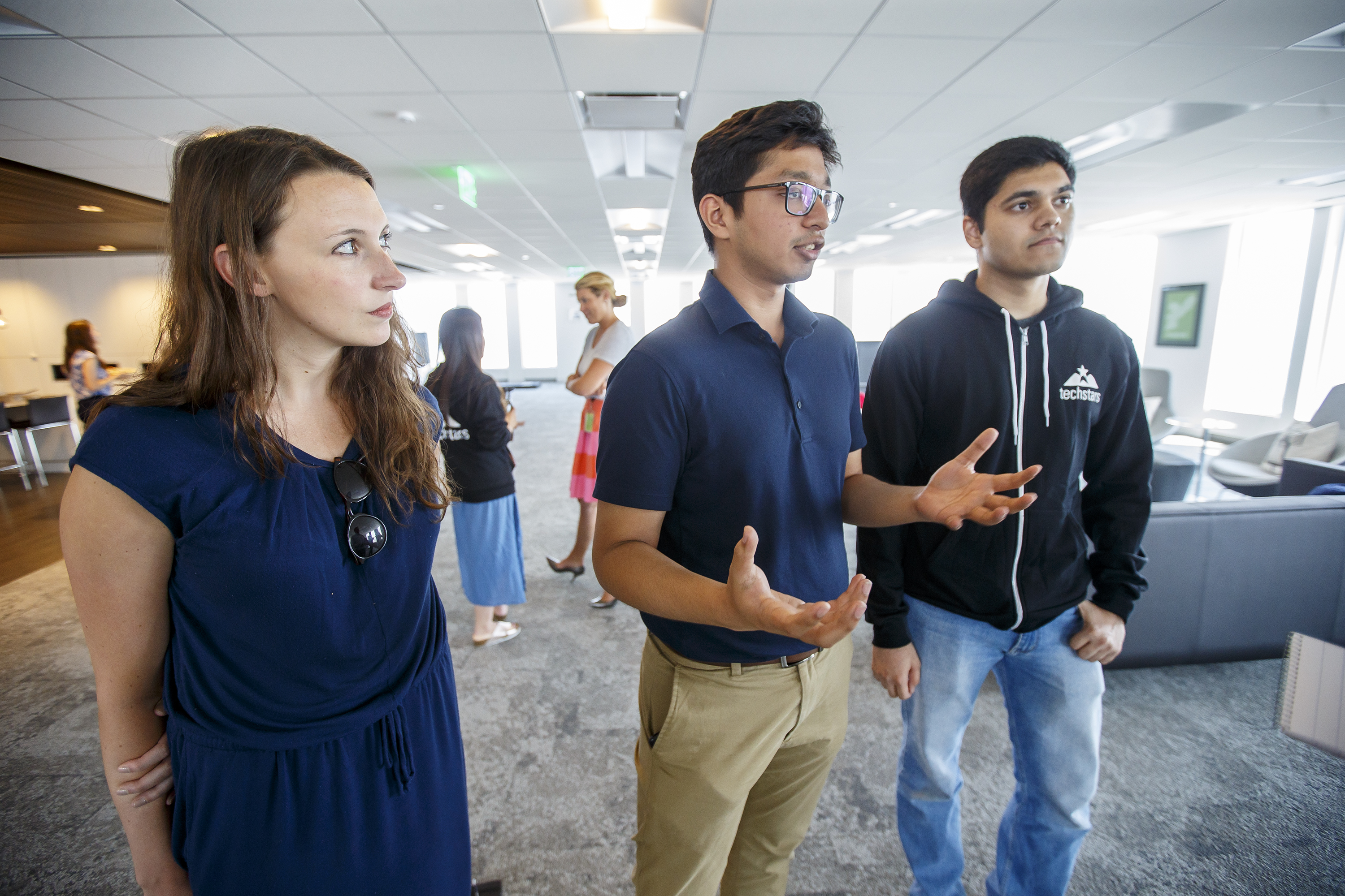 Members of Orai, from left to right, Felicia Alfieri, Paritosh Gupta and Aasim Sani, talk about Orai and its AI platform to train people to communicate better. MICHAEL BRYANT / Staff Photographer