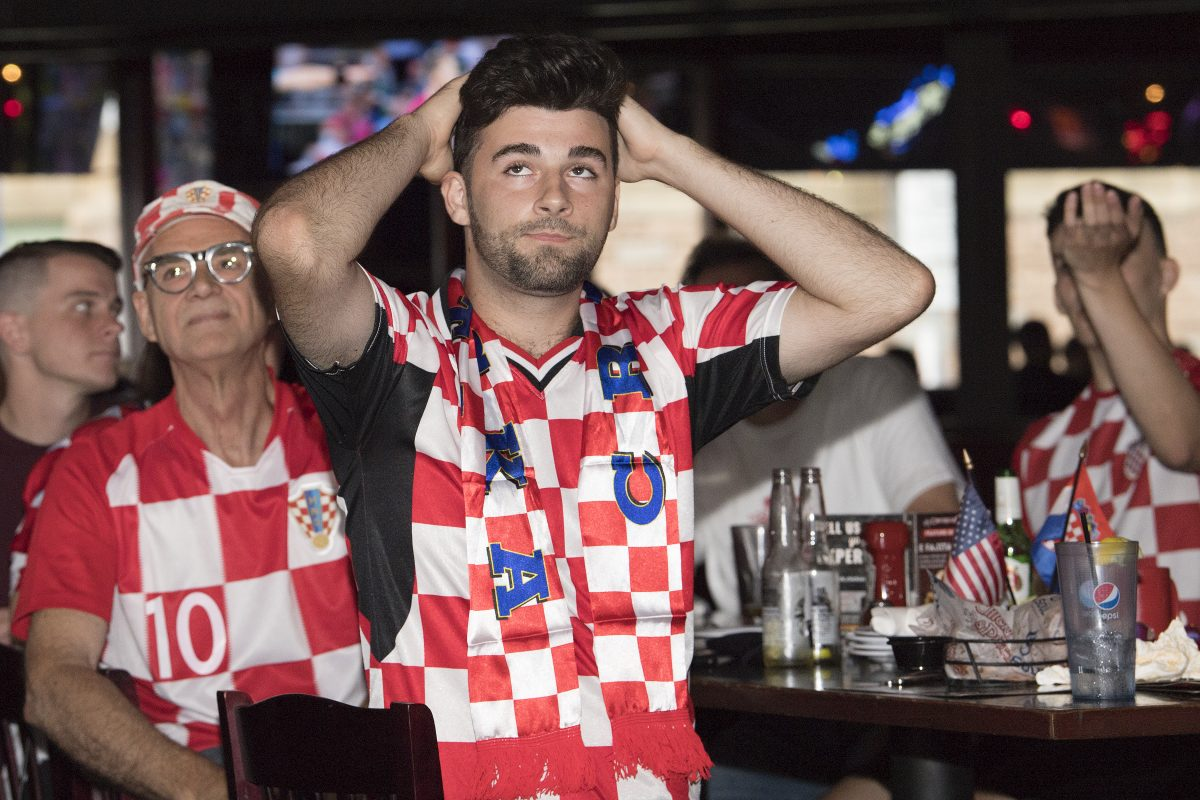 Croatian American, Evan Kachich, shows some dejection during the last minutes of the televised World Cup game against France at Chickie's and Pete's in South Philadelphia.