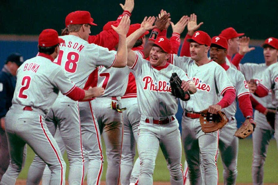 Lenny Dykstra is the center of attention as the Phillies celebrate a win in Game 5 of the 1993 NLCS. As the Phillies celebrate the 25th anniversary of a team with a knack for late-inning comebacks, their game-saving defensive miracles and a chip-on-the-shoulder intensity, we look at what happened after the winning was over.