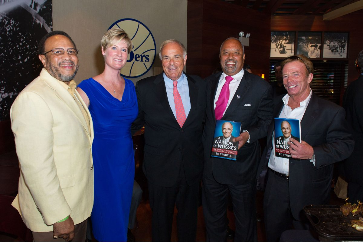 Fareed Ahmed, left, Kirstin Snow, Ed Rendell, Andre Duggin, and Charles Breslin at Rendell's book launch party at Xfinity Live in 2012.