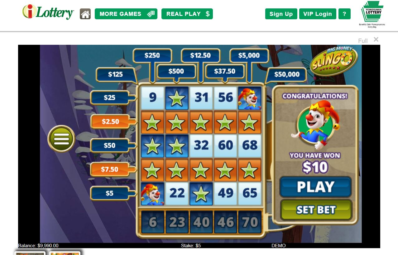 "A screenshot of the Pennsylvania Lottery´s new iLottery website, showing a winner in a demonstration game of ""Slingo."" Casinos say the state agency´s offerings mimic casino games and have asked the Lottery to suspend the games. (Courtesy of Pennsylvania Lottery)"