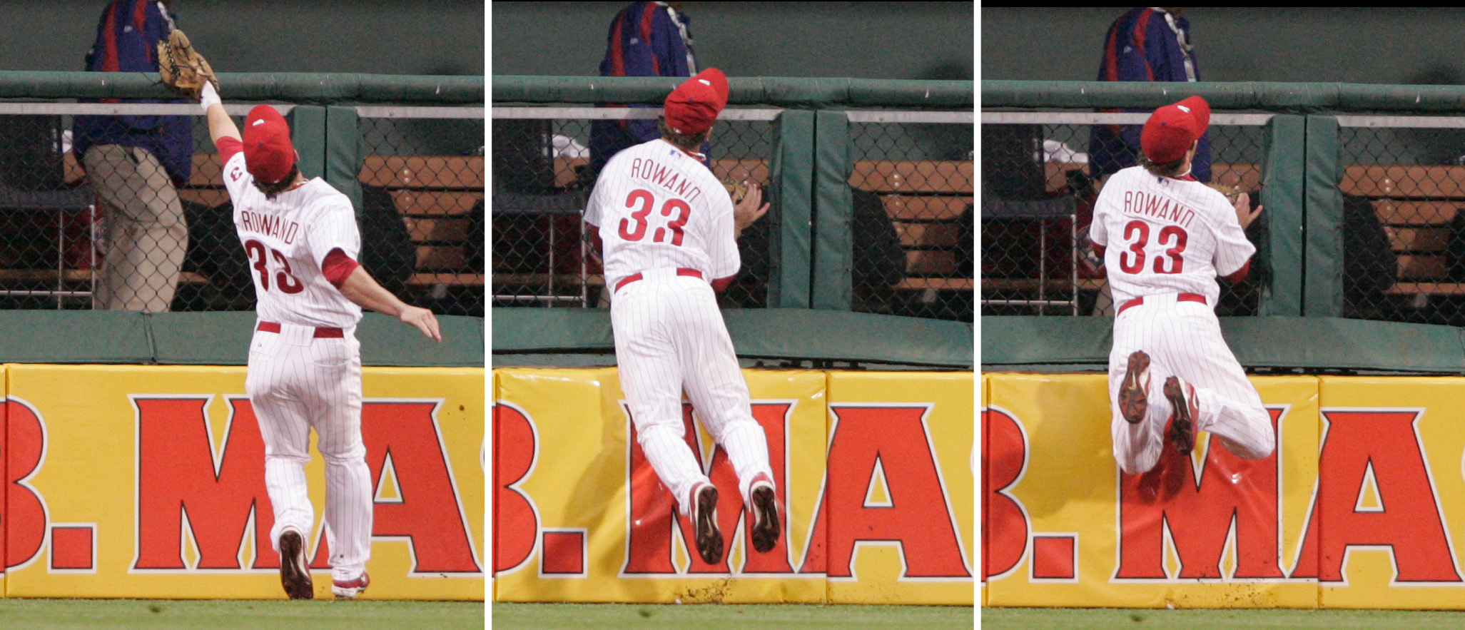 Aaron Rowand made arguably the greatest catch in Citizens Bank Park history in 2006 and was selected for his only All-Star appearance for the club the following season. He broke his nose and several bones in his face making the play off a drive by the Mets Xavier Nady.