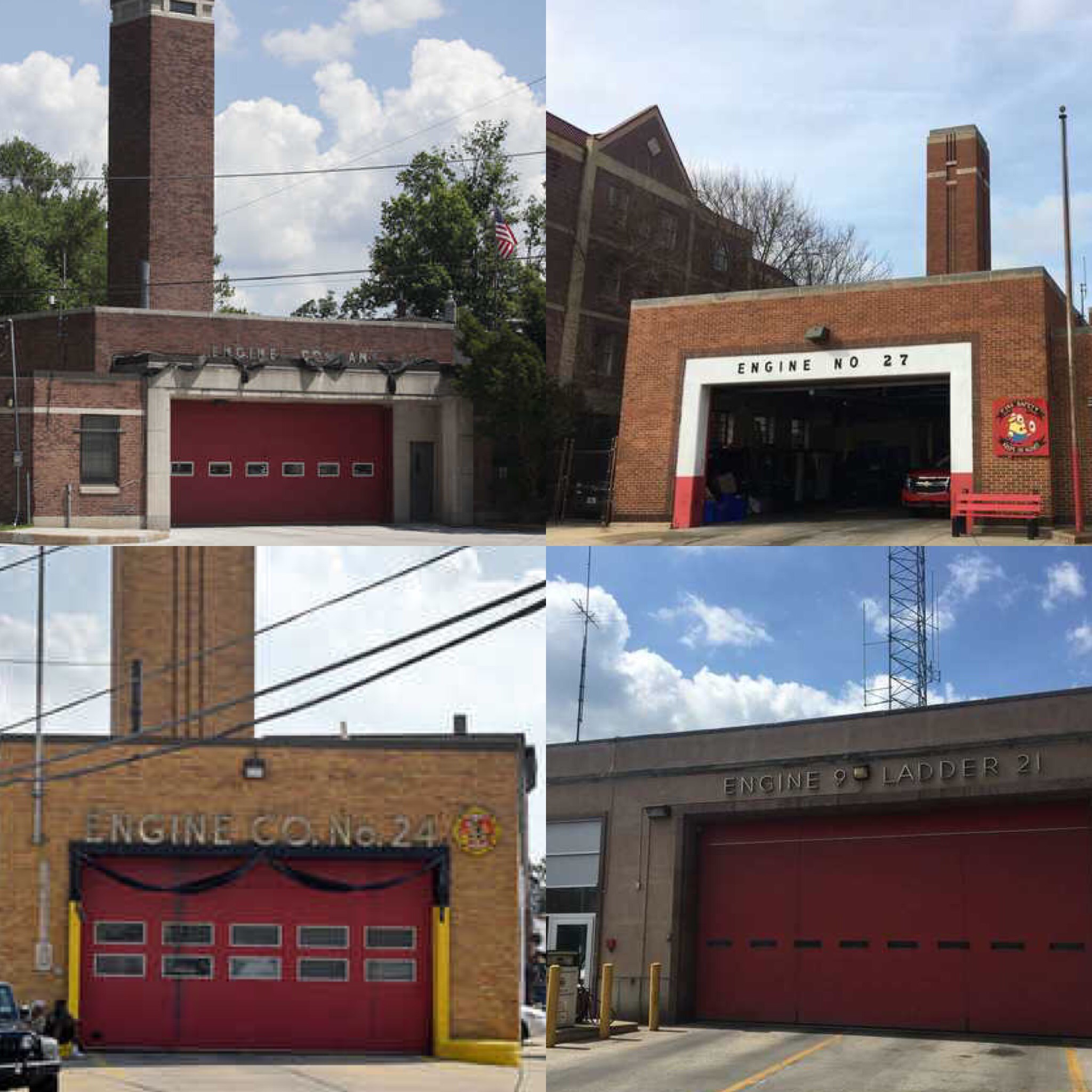 In an effort to modernize its fire department, Philadelphia went on a firehouse building spree in the 1950s. Most of the completed firehouses were based on the same modernist design by the city architct. This is a collage of four: Engine 52 in Wissonoming,Engine 27 in North Philadelphia, Engine 24 in Point Breeze and Engine 9 in Mount Airy.
