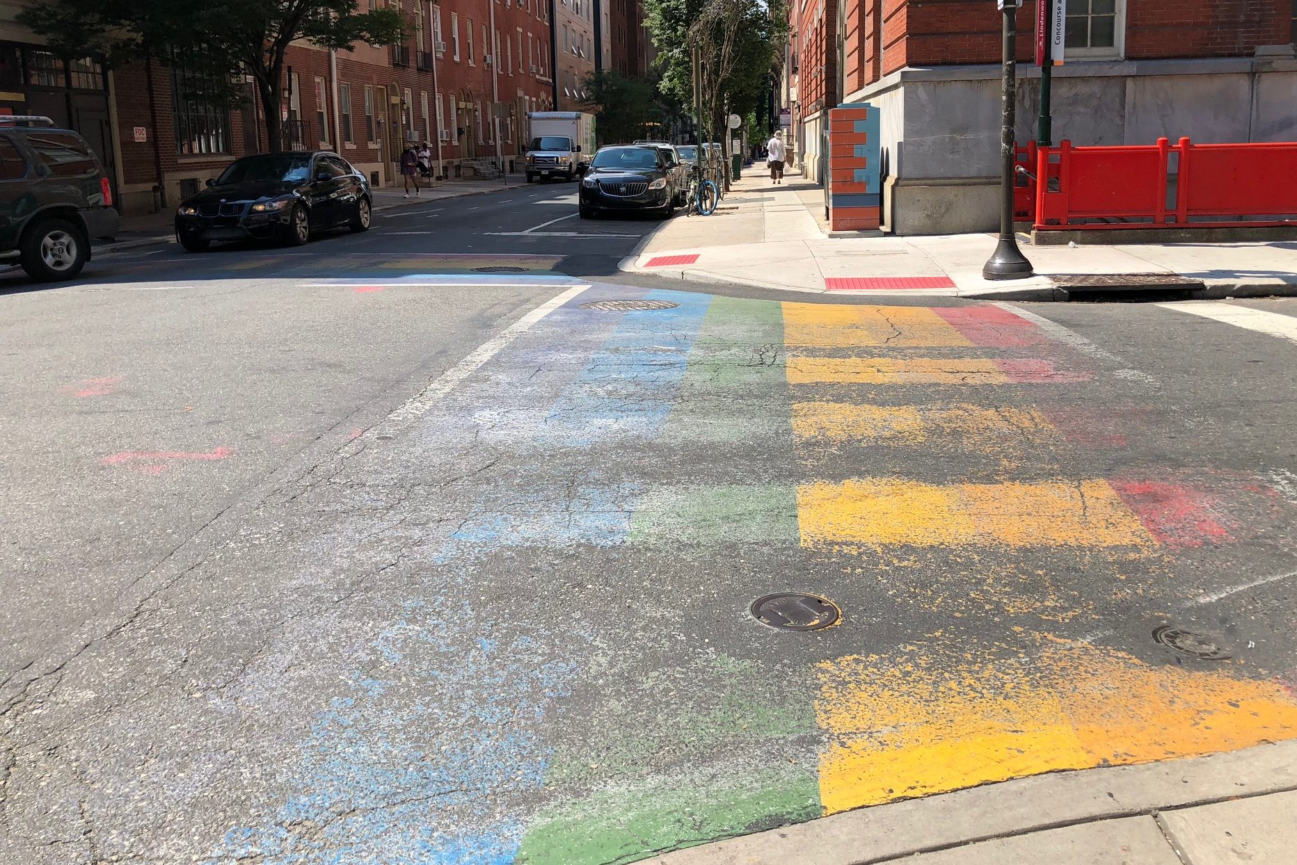 The crosswalks at 13th and Locust streets in the Gayborhood have faded considerably since they were installed in 2015.