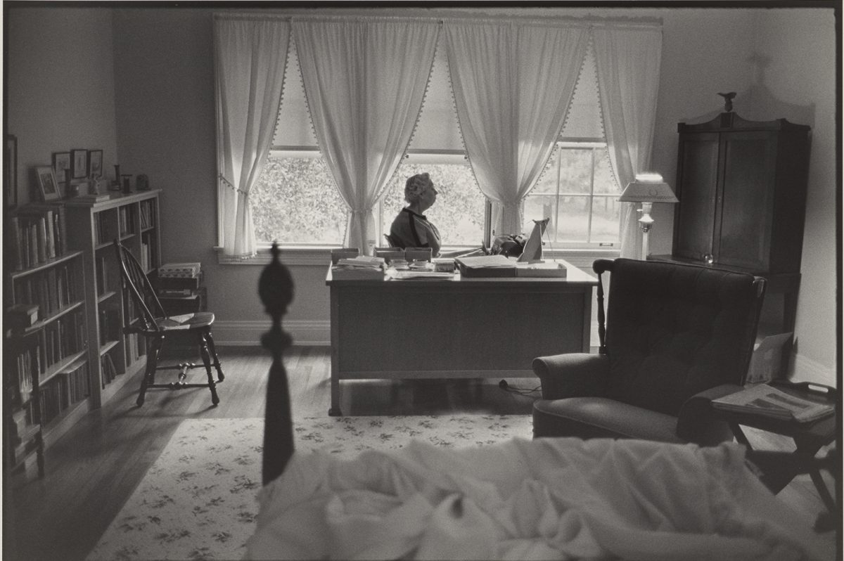 Eudora Welty at work. Eudora Welty 1972 Gelatin Silver Print Image: 11 13/16 × 17 11/16 inches Gift of Theodore T. Newbold, 1980