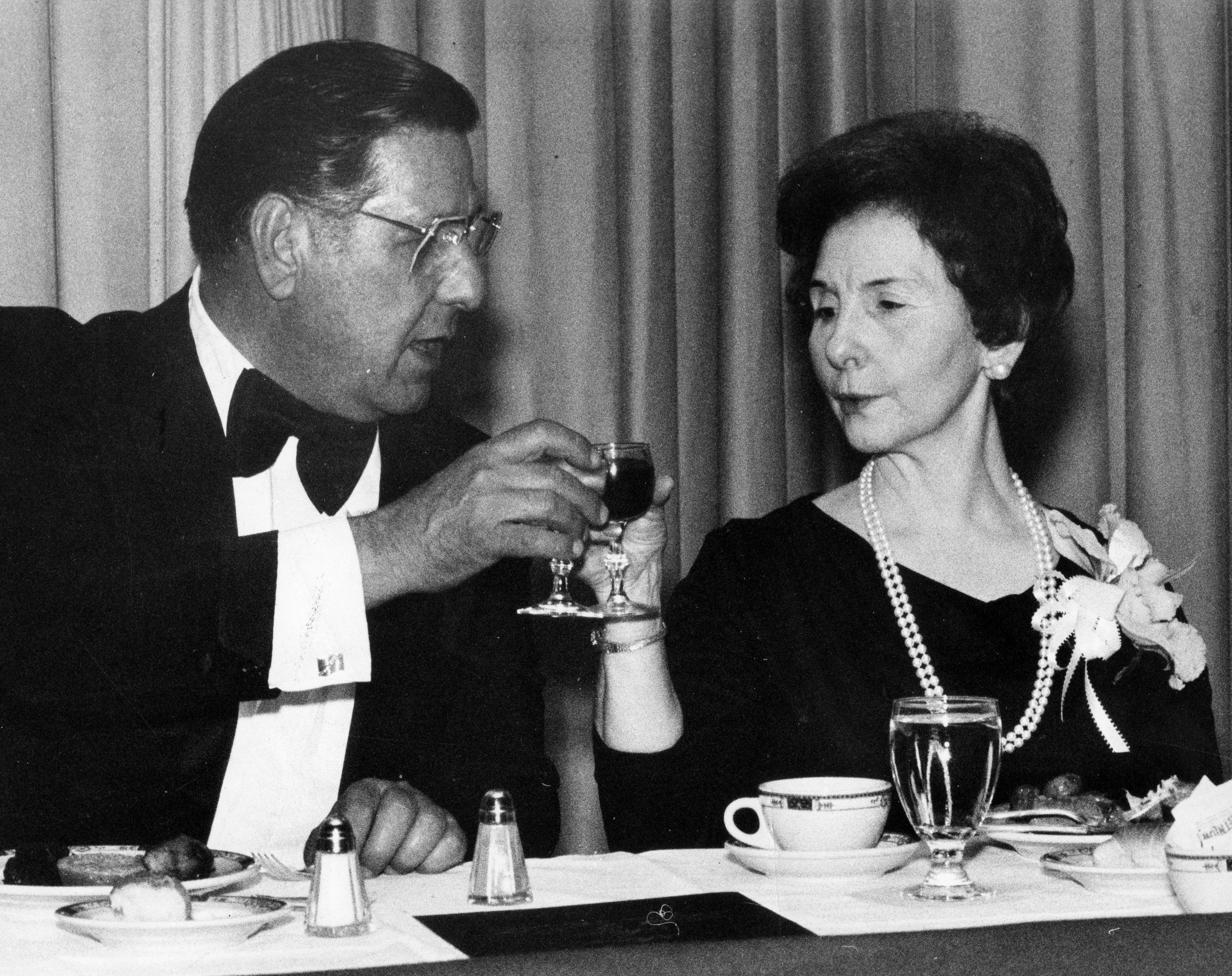 Frank Rizzo offers a wine toast to his wife Carmella at a September 1979 dinner.