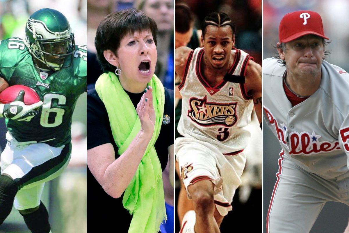 Brian Westbrook (left), Muffet McGraw, Allen Iverson and Jamie Moyer are part of the Philly Sports Hall of Fame's 2018 class.