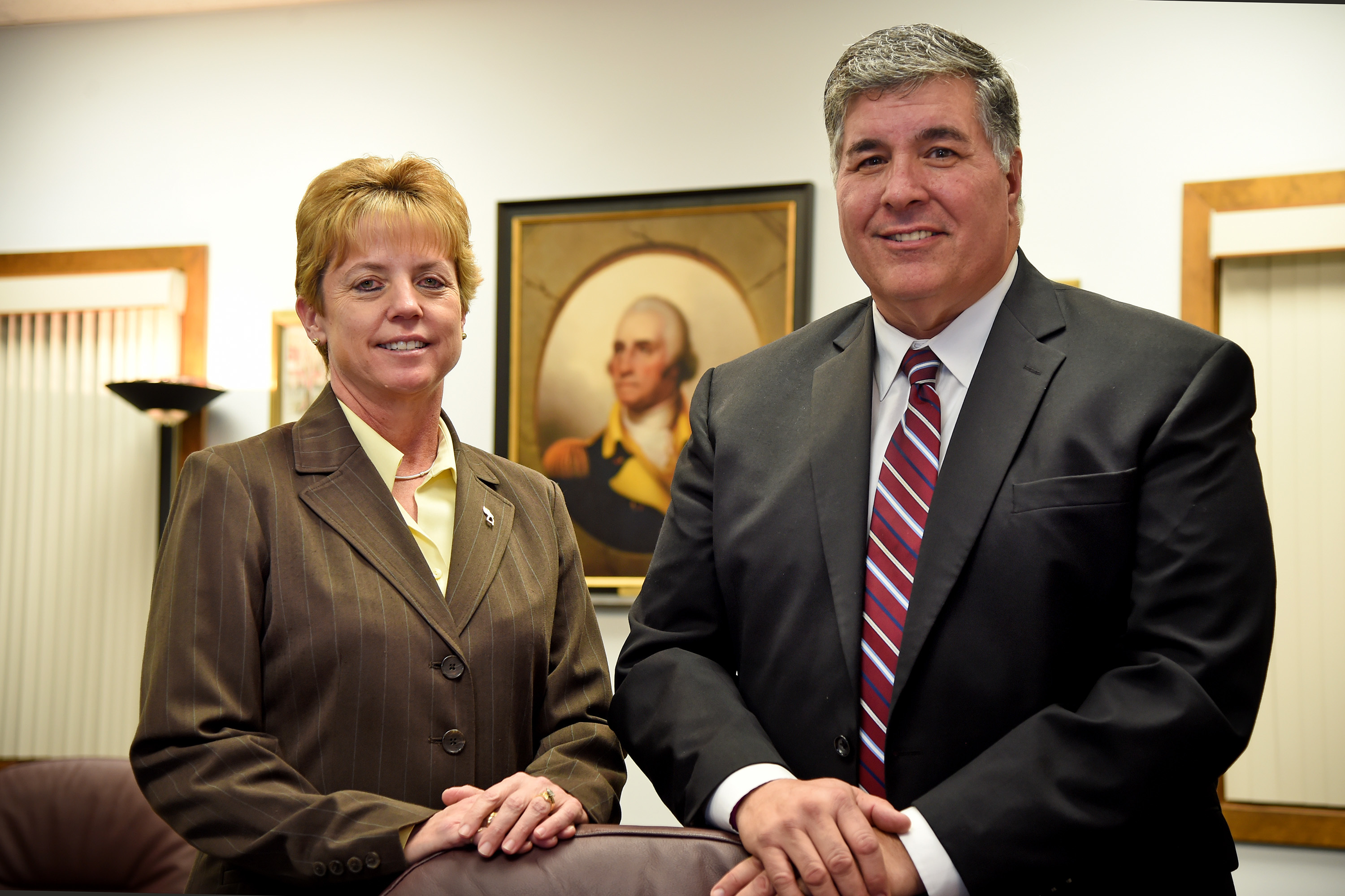 Washington Township superintendent Joseph Bollendorf (right) and Ginny Murphy (left) Washington Township Board of Education president at the Board of Education offices in January 2017. The Gloucester County district is among 172 across New Jersey that lost money in the new state budget.
