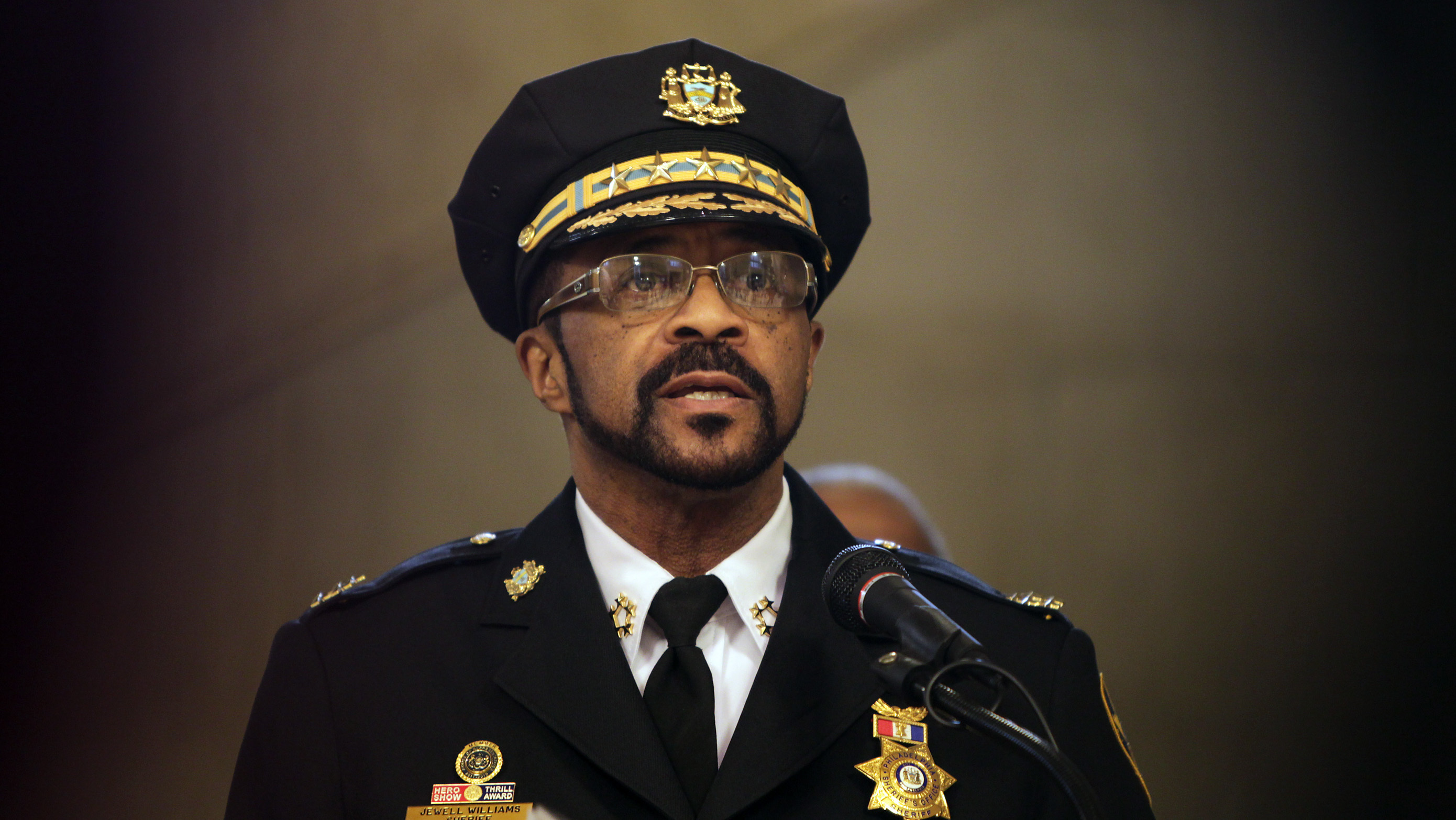 Sheriff Jewell Williams gives remarks in 2014.