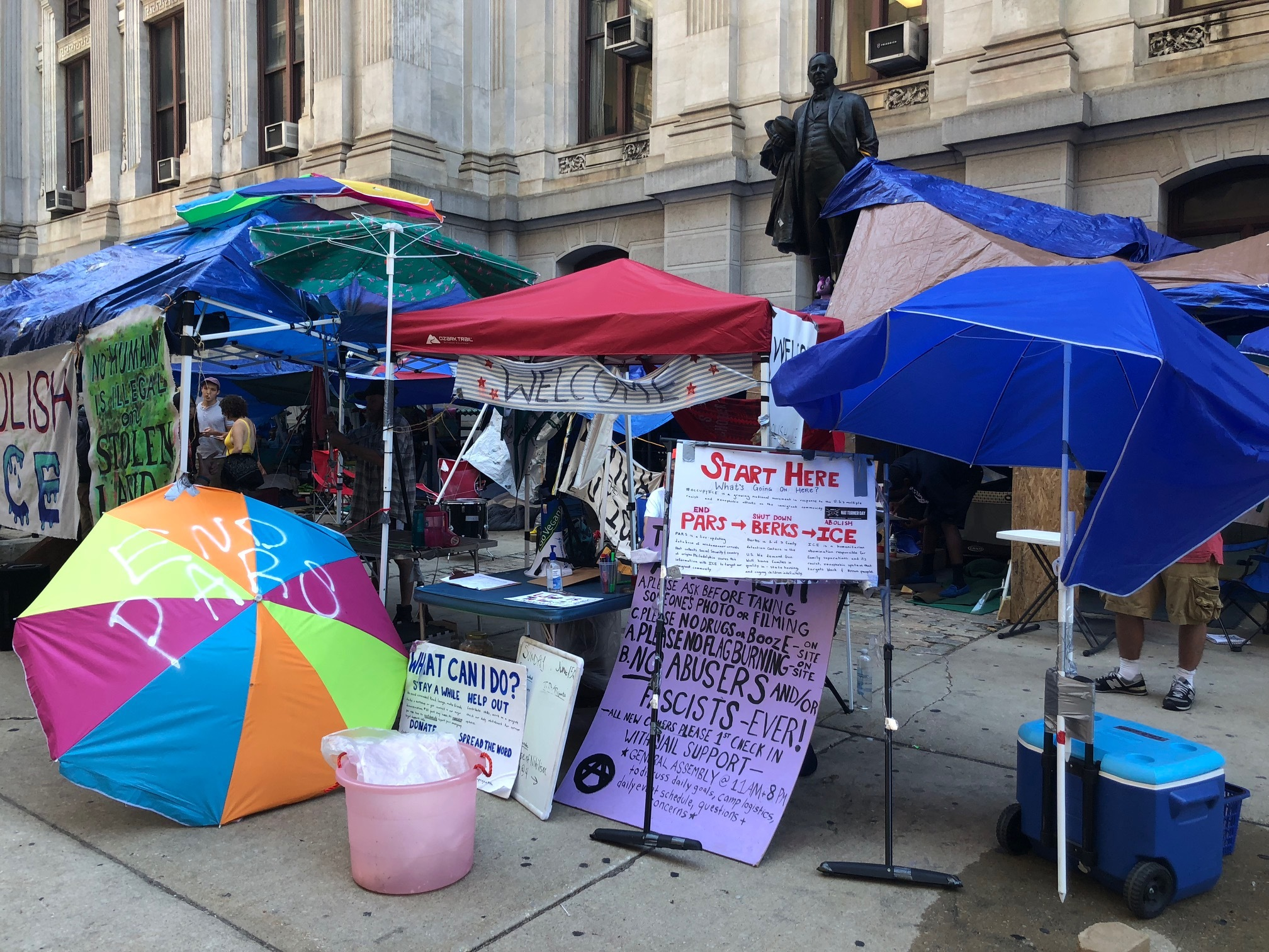 The Occupy ICE encampment ay City Hall after a group of acrivists marched from ICE´s Philadelphia office near 8th and Cherry Streets, through Chinatown, to City Hall on Wednesday morning.