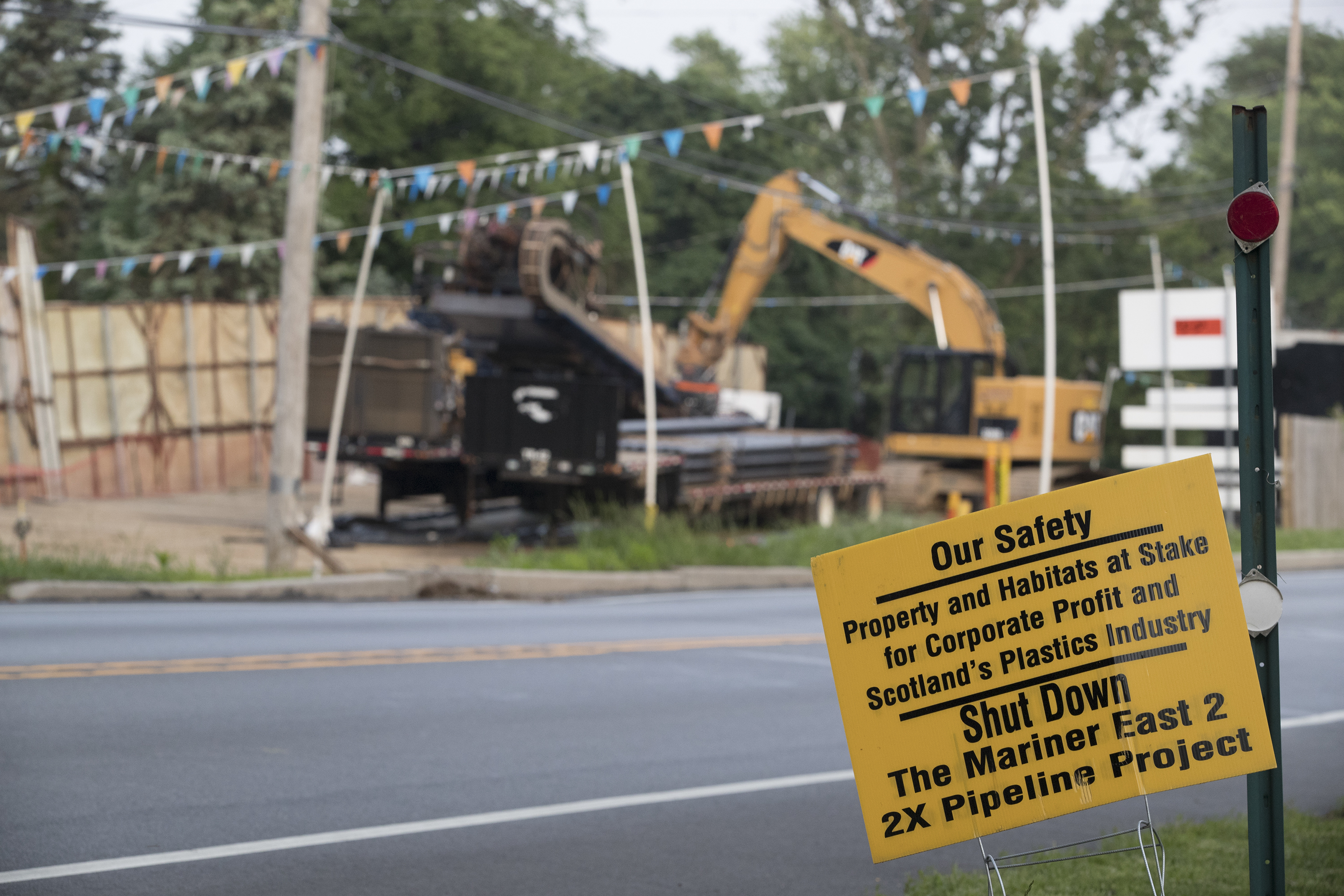 A homeownser's protest sign against the the Mariner East 2 pipeline hangs along Pennell Road in Media.